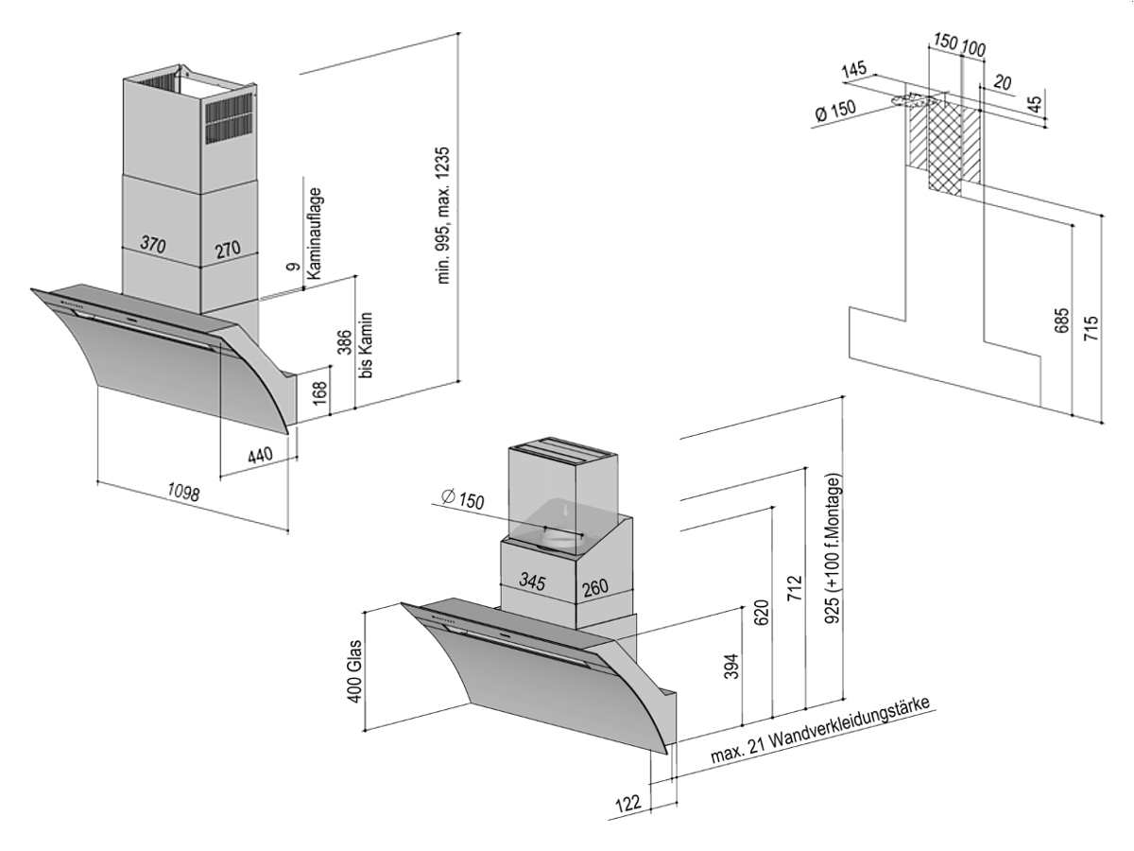 berbel glassline 2 bkh 110 gl 2 kopffreihaube schwarz. Black Bedroom Furniture Sets. Home Design Ideas