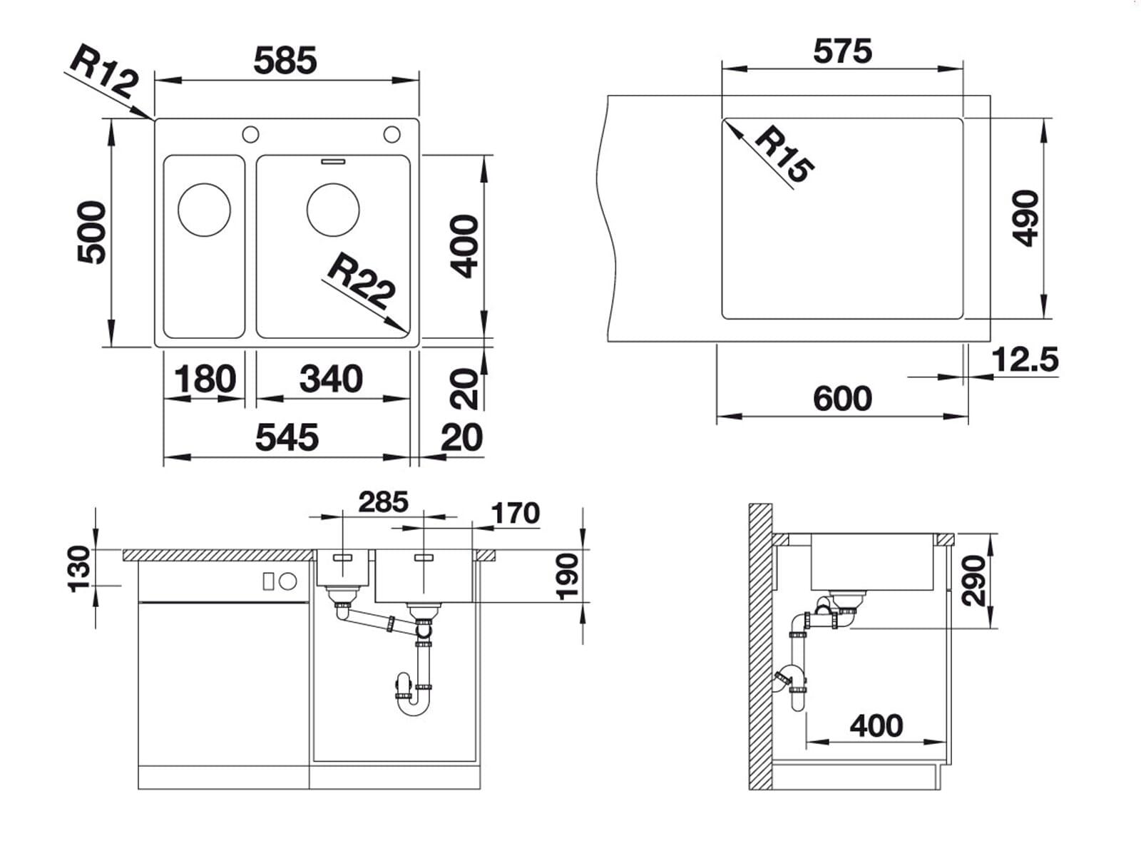 blanco andano 340 180 if a edelstahlsp le seidenglanz. Black Bedroom Furniture Sets. Home Design Ideas