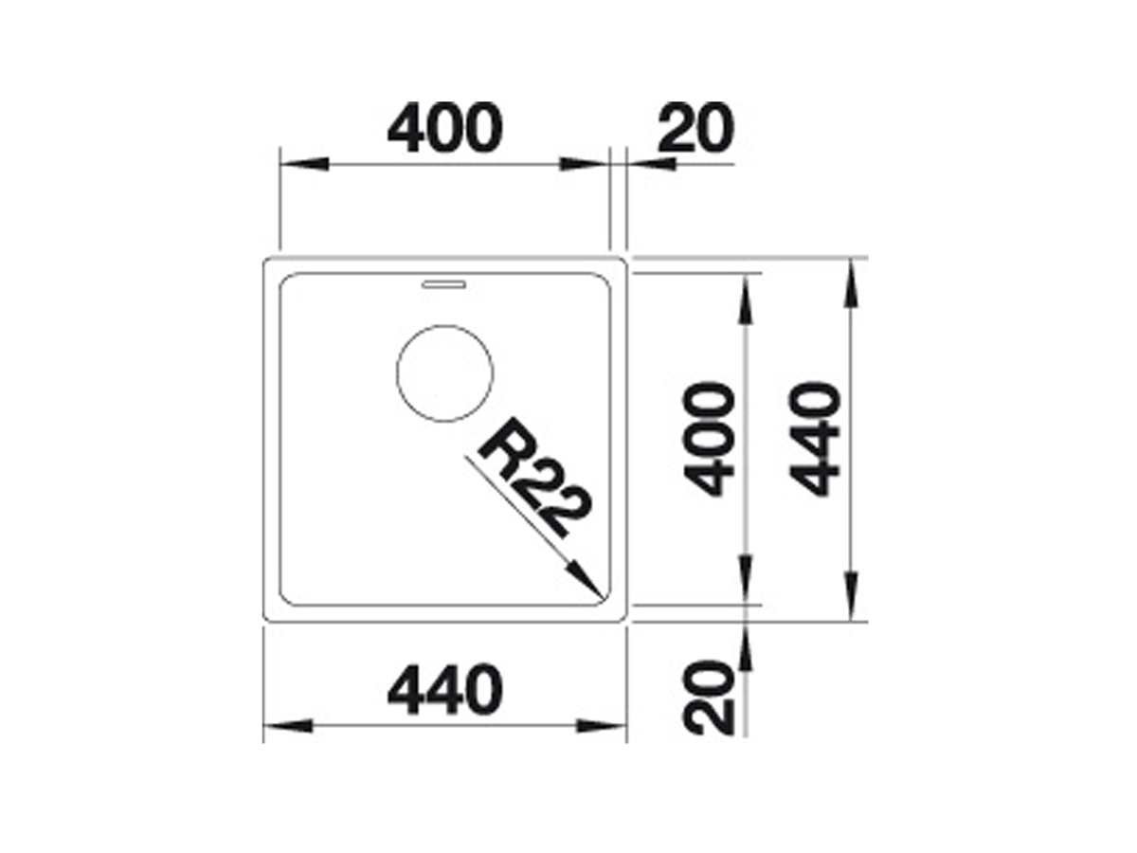 Blanco Andano 400-U Edelstahlspüle Seidenglanz 522 959