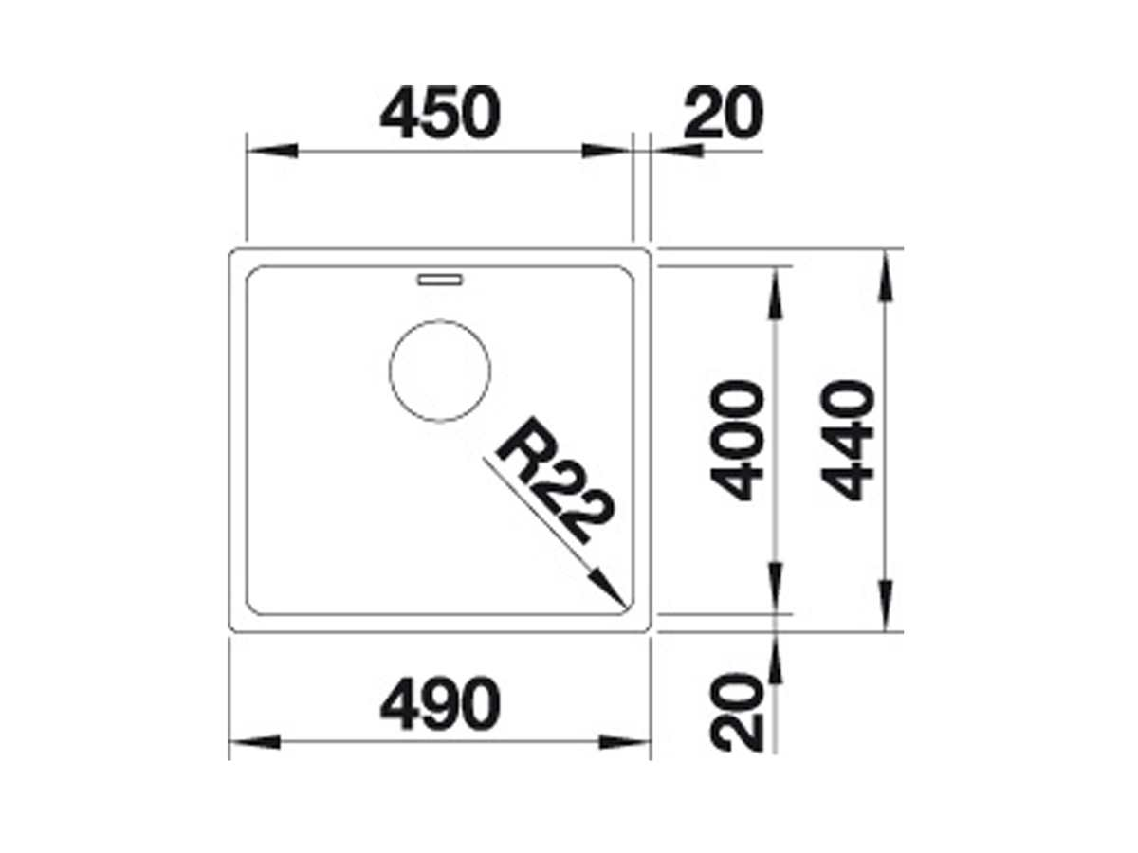 Blanco Andano 450-U Edelstahlspüle Seidenglanz 522 963