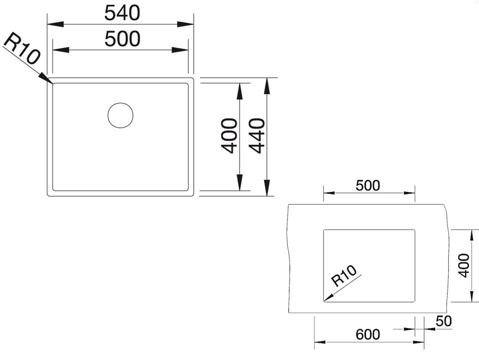 Extremely Blanco Claron 500-U Edelstahlspüle Seidenglanz JS64