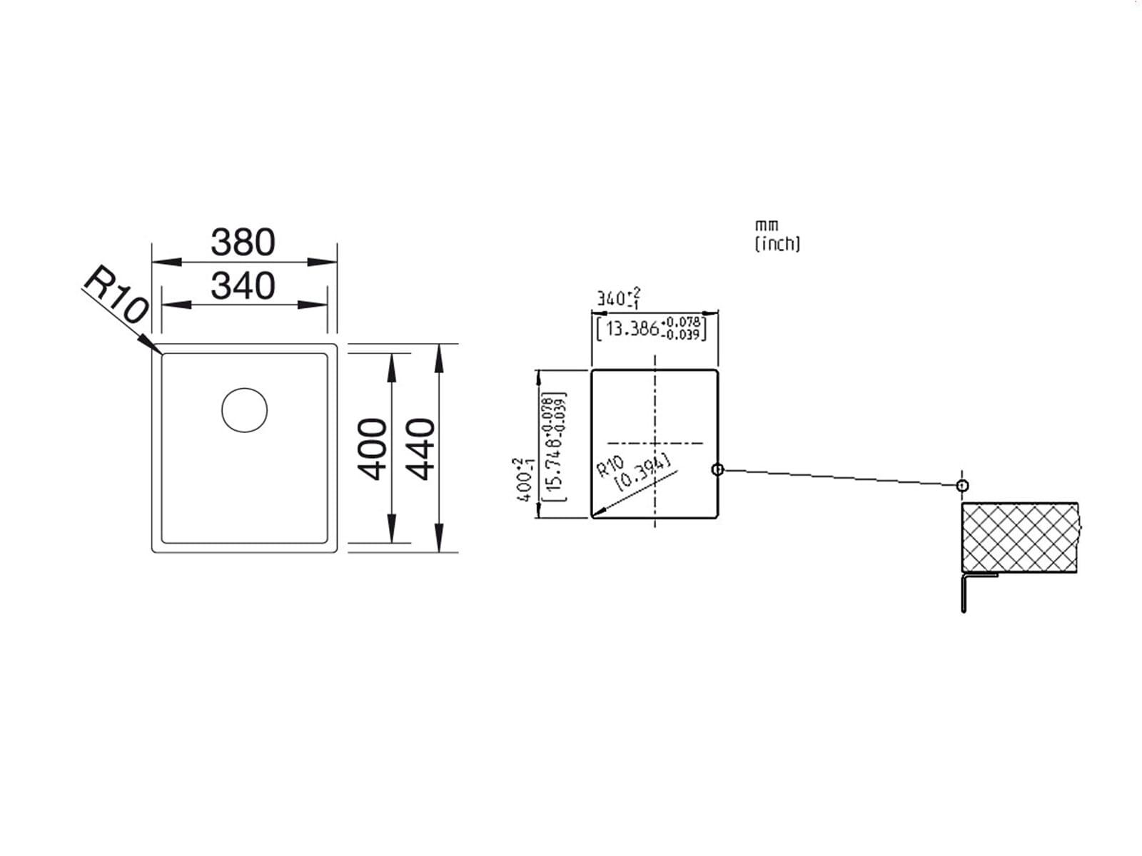 blanco claron 340 u edelstahlsp le seidenglanz. Black Bedroom Furniture Sets. Home Design Ideas