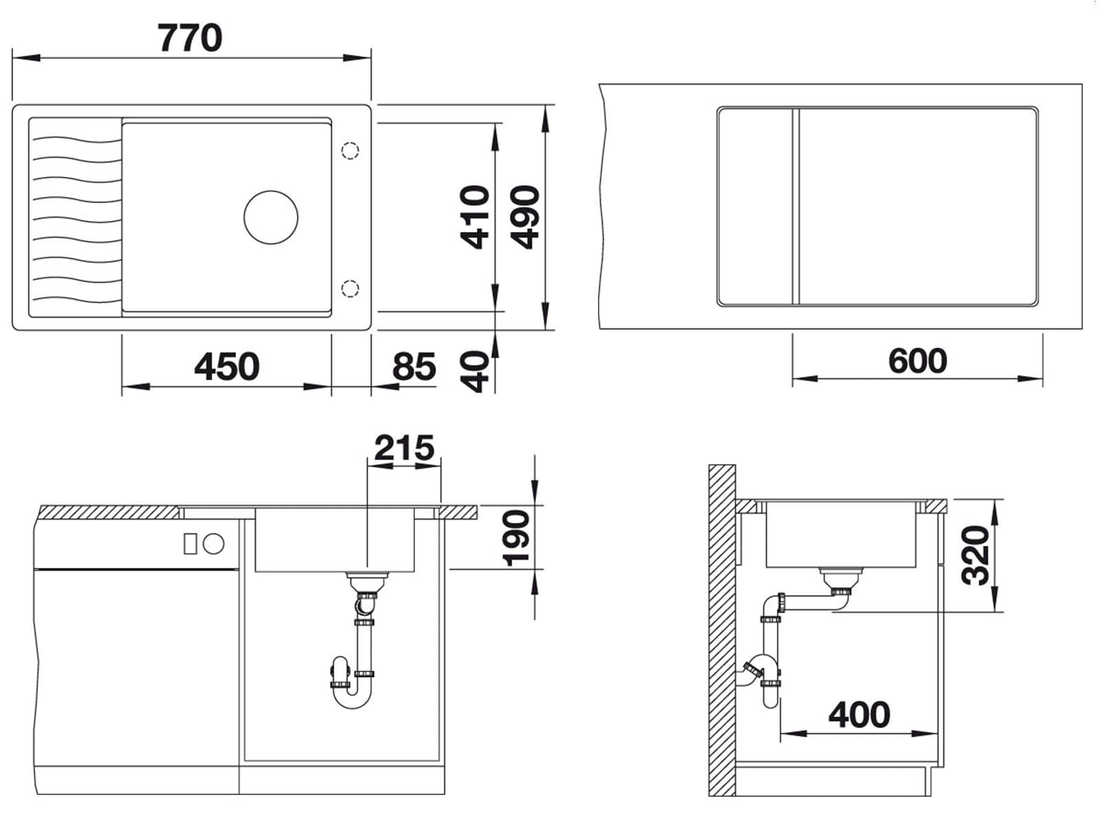 Blanco Elon XL 6 S-F Alumetallic Granitspüle
