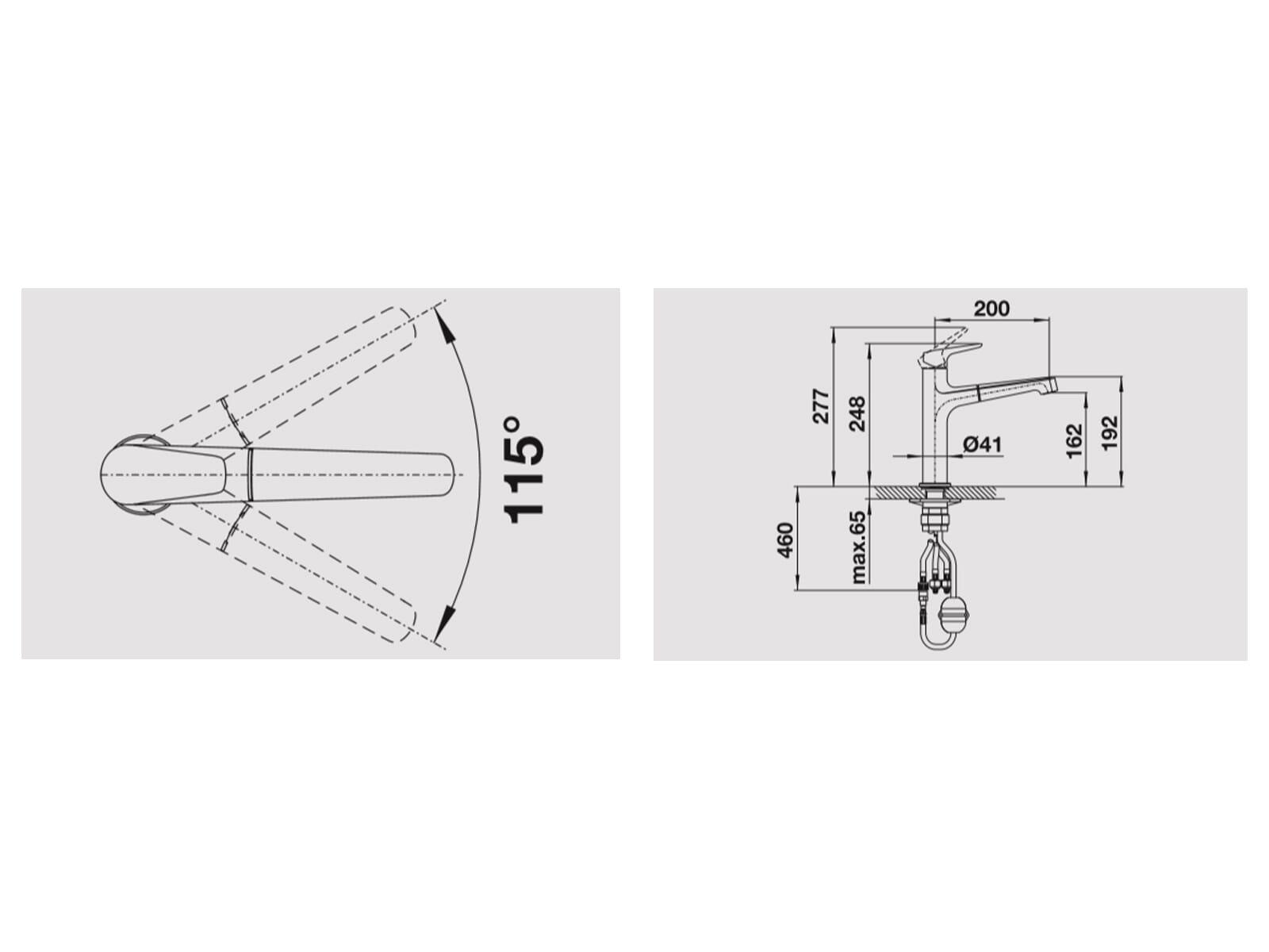 Blanco Felisa-S Perlgrau - 520 347 Hochdruckarmatur