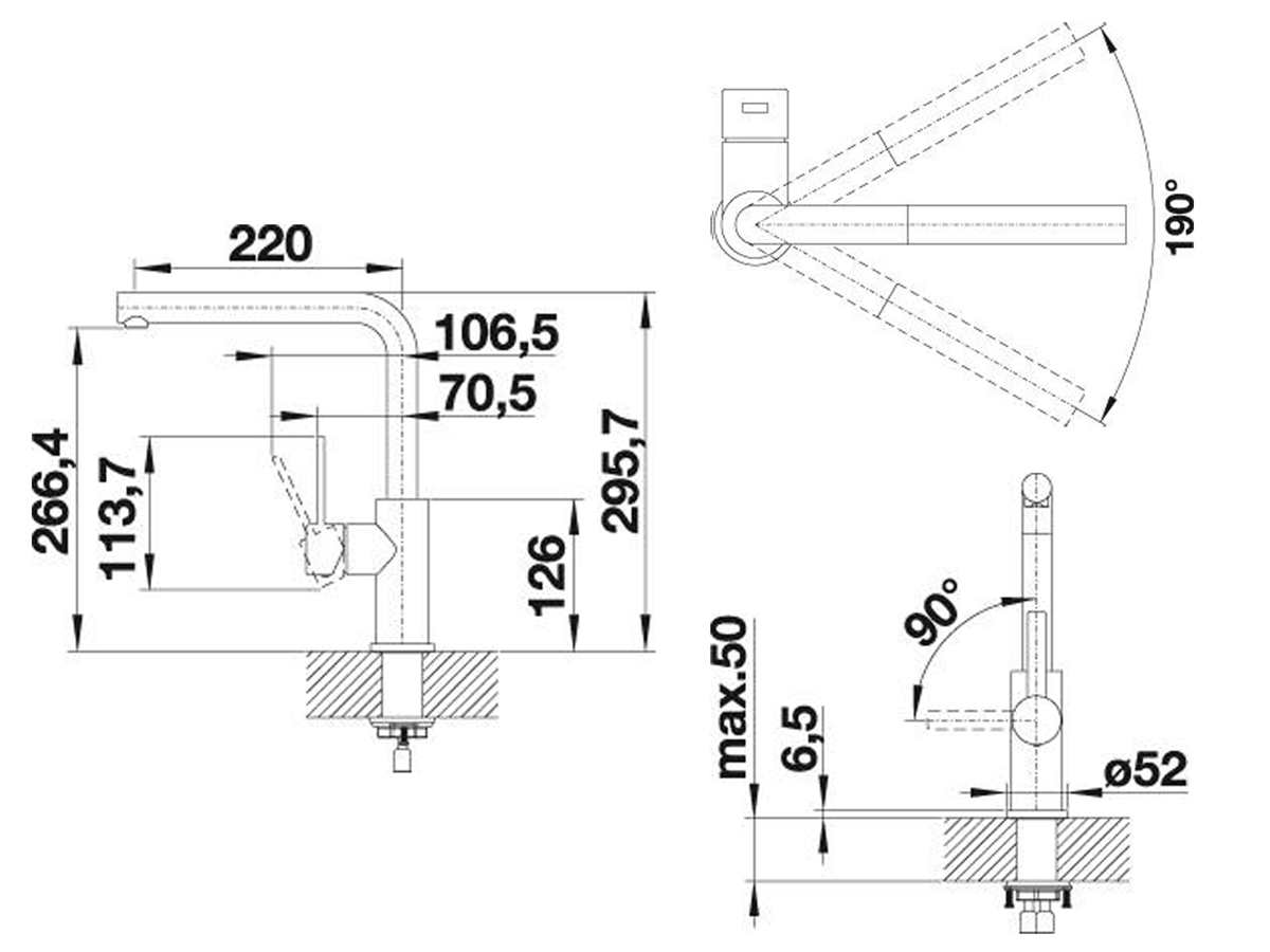 Blanco Lanora-S Edelstahl  - 523 123 Hochdruckarmatur