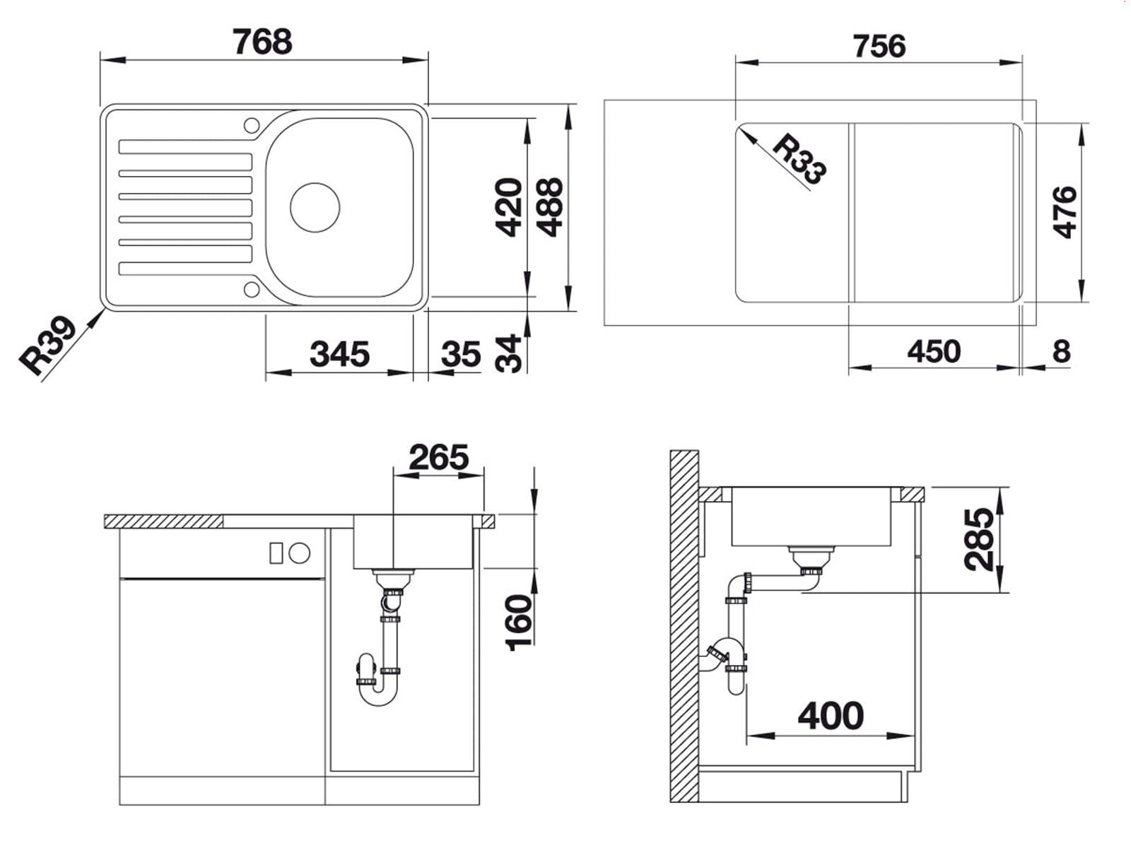 blanco lantos 45 s if compact edelstahlsp le b rstfinish. Black Bedroom Furniture Sets. Home Design Ideas