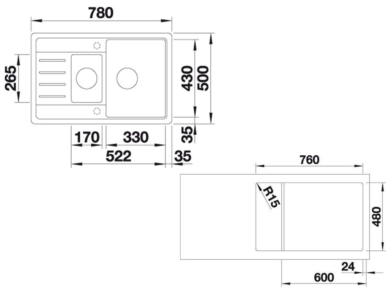 Blanco Legra 6 S Compact Alumetallic - 521 303 Granitspüle