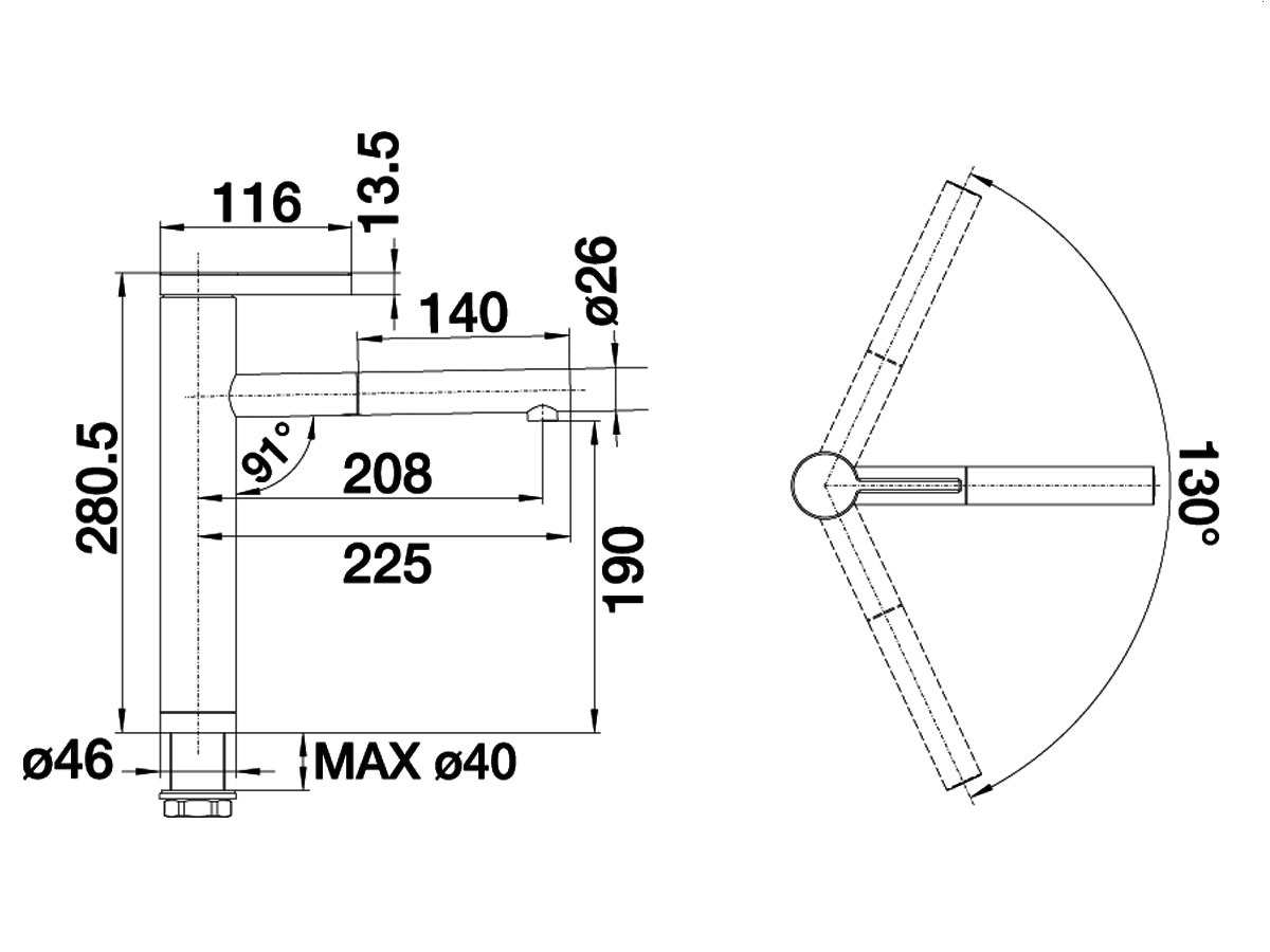 Blanco Linee-S Alumetallic Hochdruckarmatur