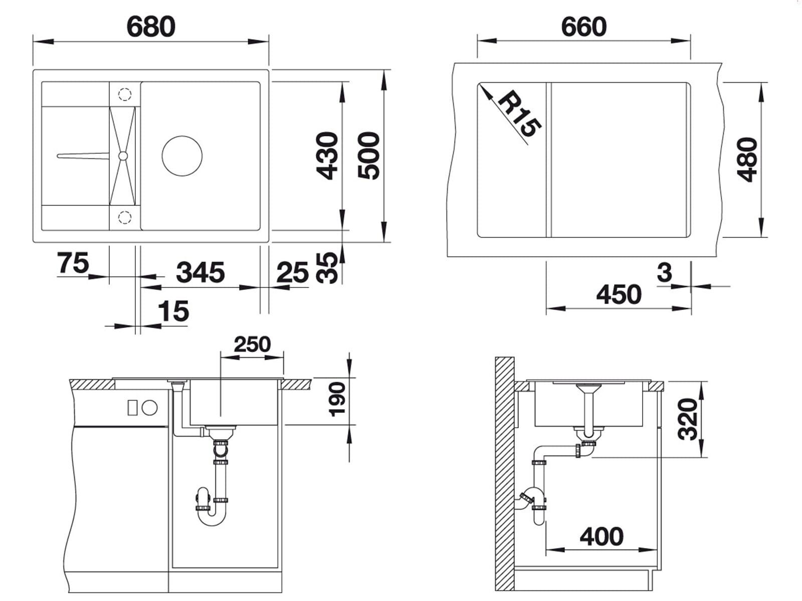 Blanco Metra 45 S Compact Anthrazit Granitspüle