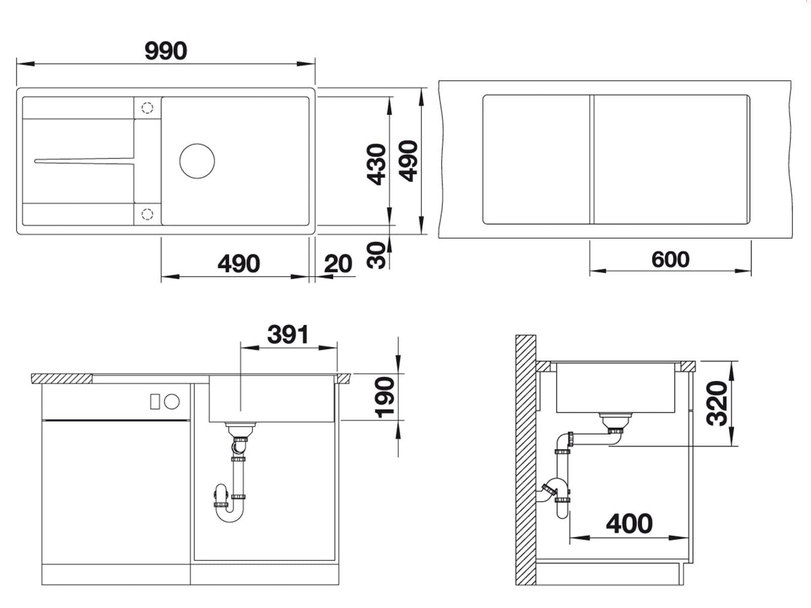 Blanco Metra XL 6 S-F Felsgrau Granitspüle