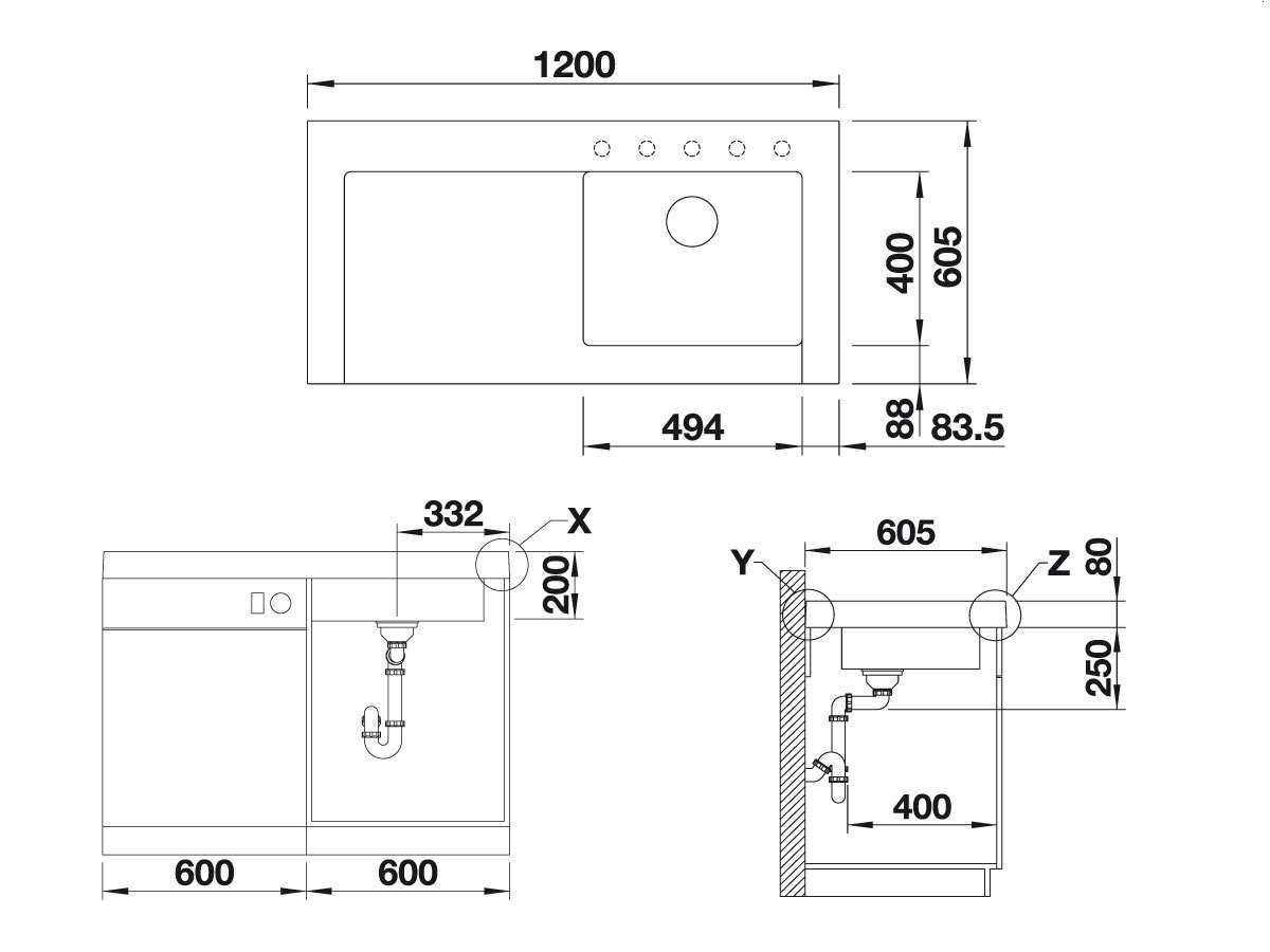 Blanco Modex-M 60 Tartufo - 523 653 Granitspüle