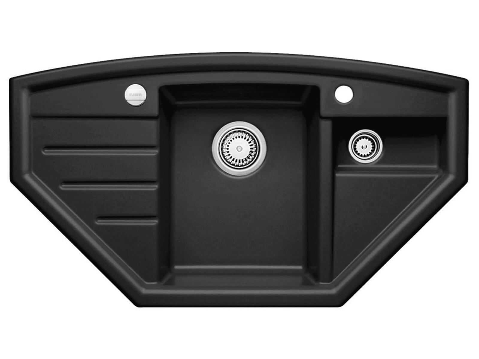 blanco prion 9 e schwarz keramik ecksp le mit exzenterbet tigung. Black Bedroom Furniture Sets. Home Design Ideas