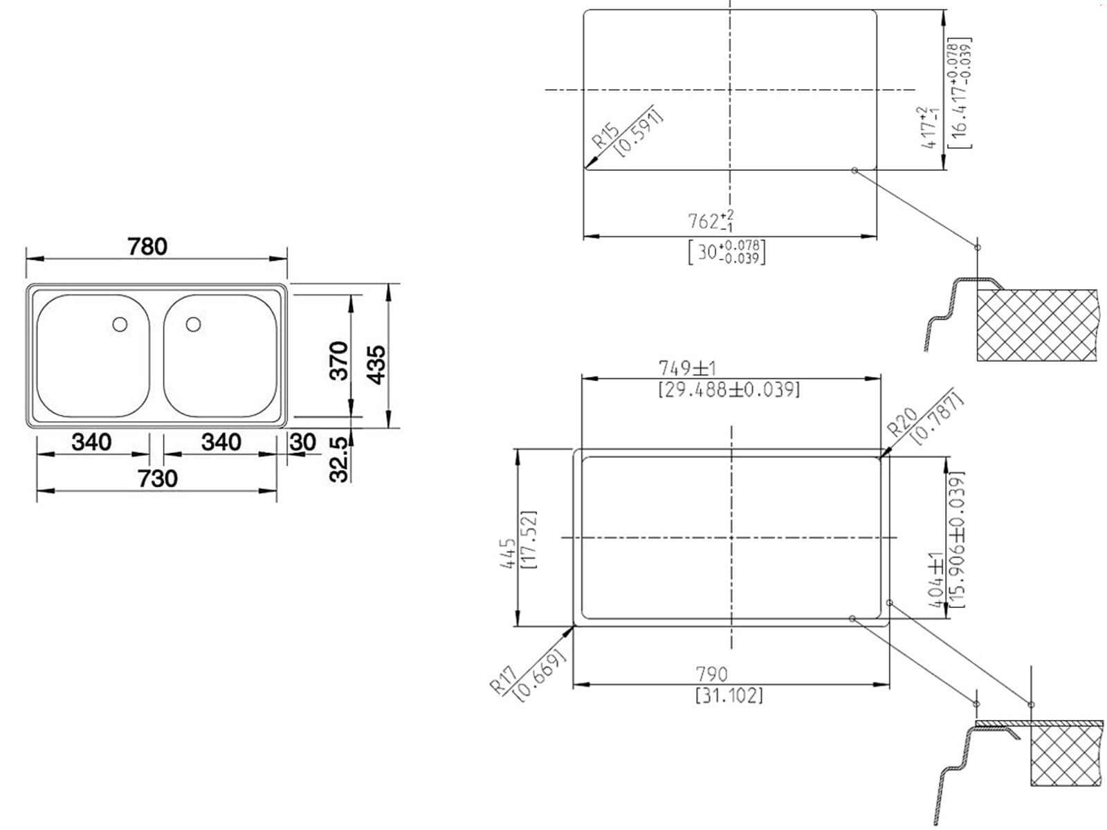 Blanco Top ED 8 x 4 Edelstahlspüle Naturfinish Set