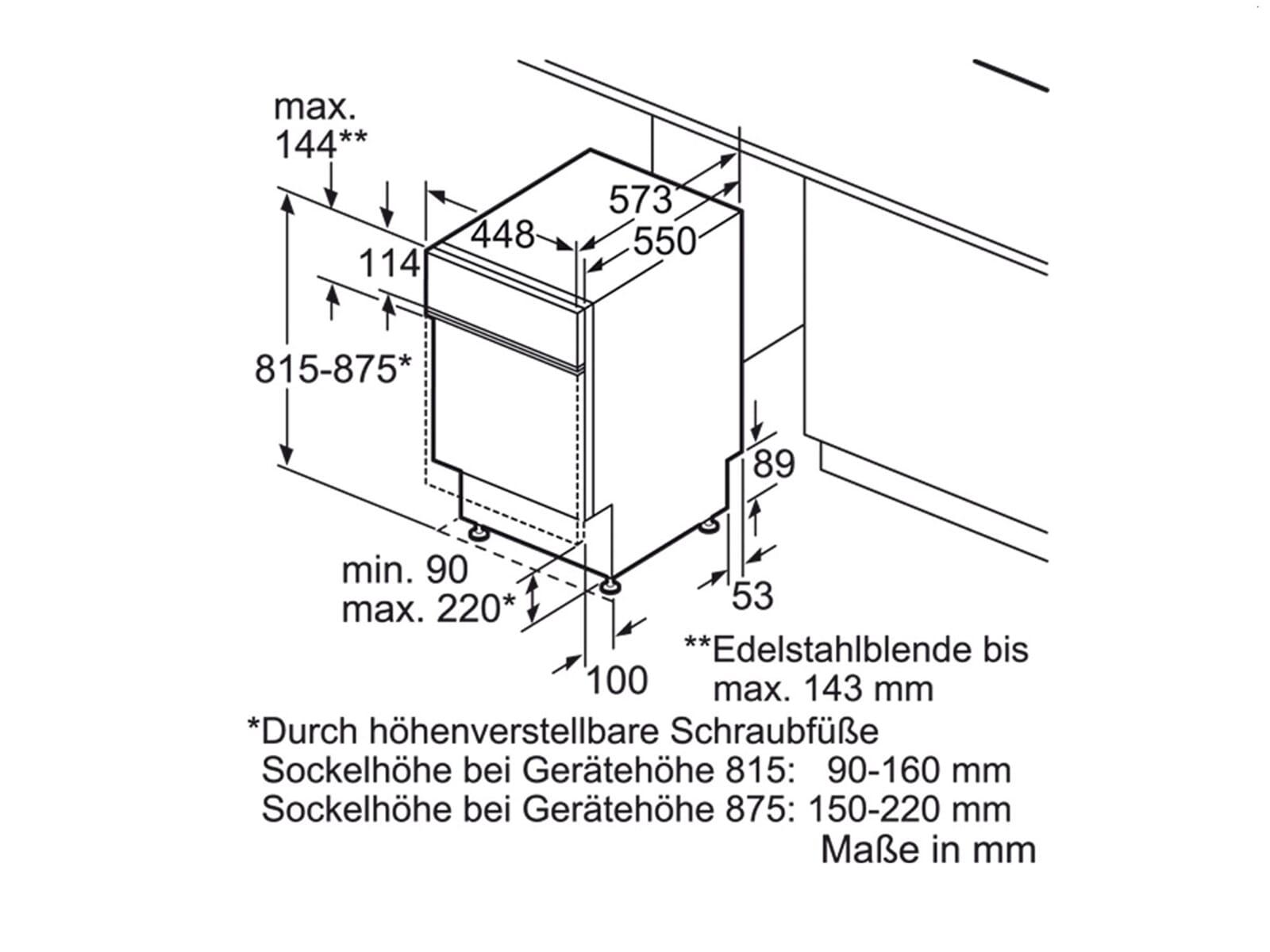 Bosch SPI40E85EU Teilintegrierbarer Einbaugeschirrspüler