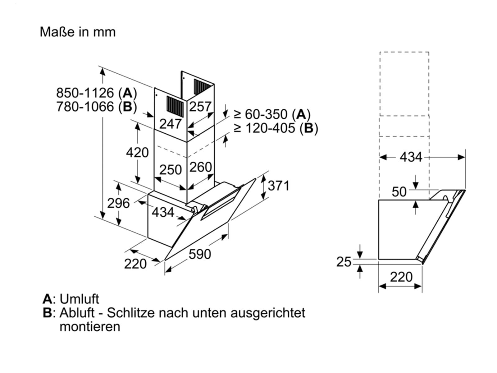Bosch DWK67EM60 Kopffreihaube Schwarz