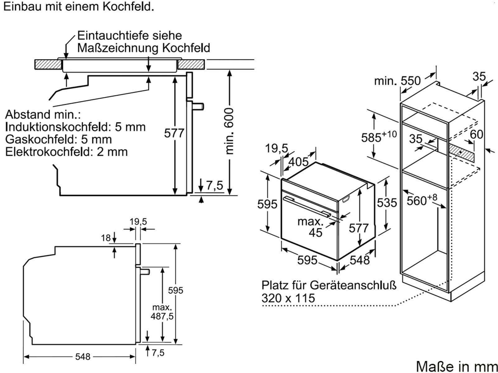 Bosch HBG635BS1 Backofen Edelstahl