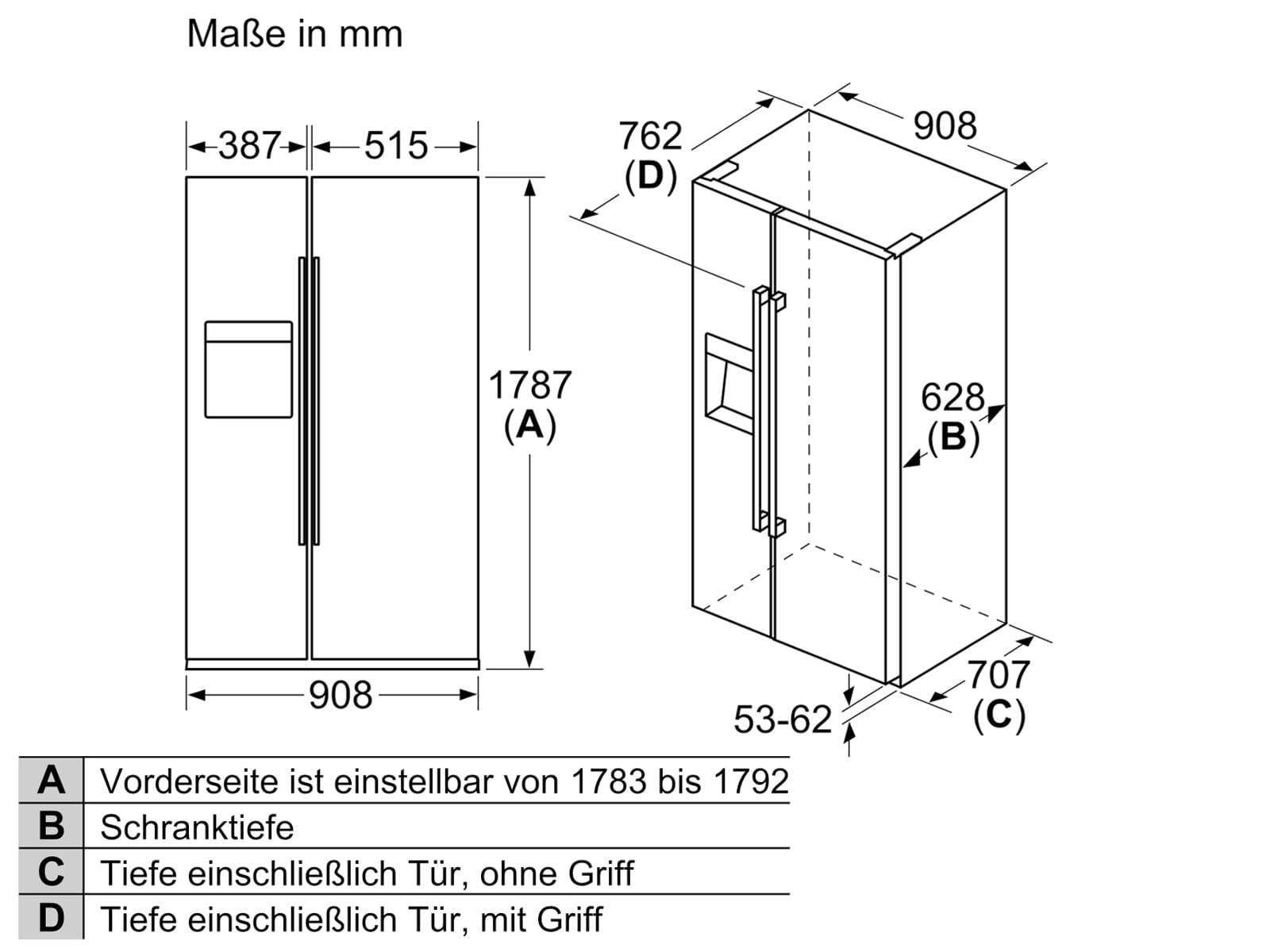 Bosch KAI93VIFP Side by Side Kühl-Gefrier-Kombination Edelstahl