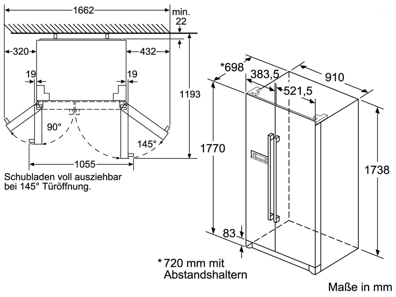 Bosch KAN90VI20 Side by Side Kühl-Gefrier-Kombination Edelstahl