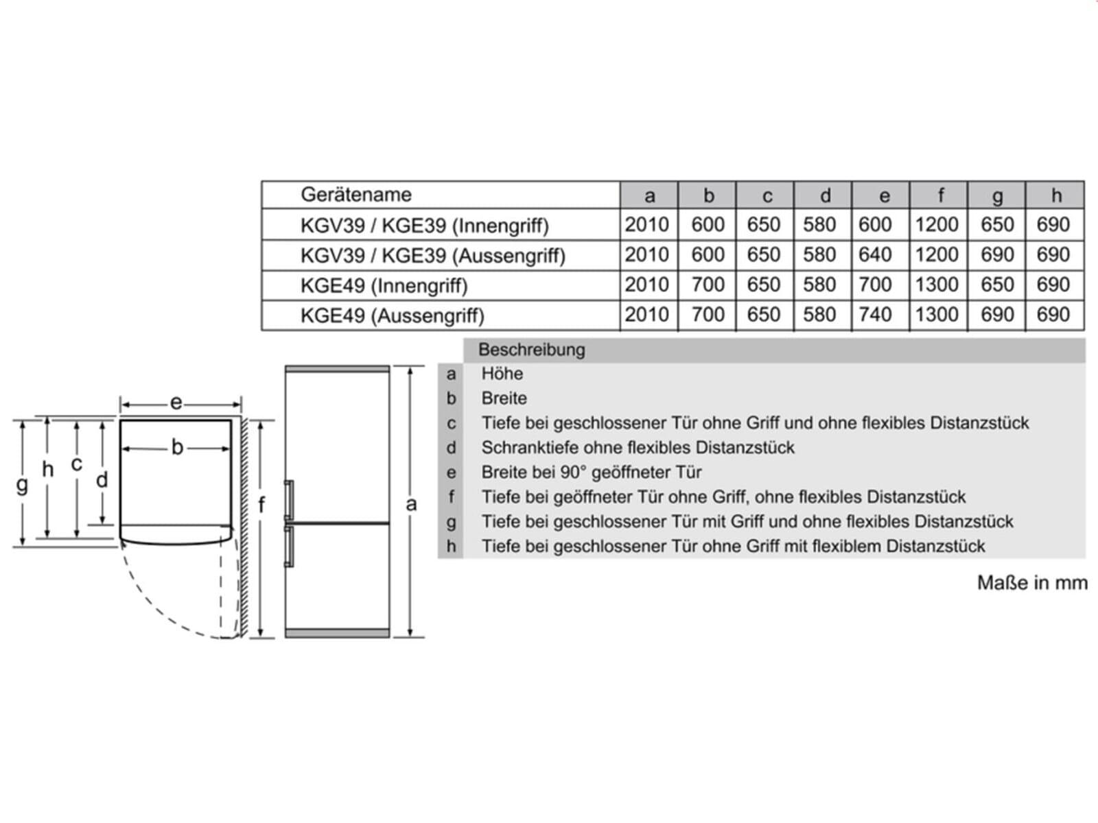 Bosch KGV39UL30 Kühl-Gefrierkombination Edelstahl-Optik