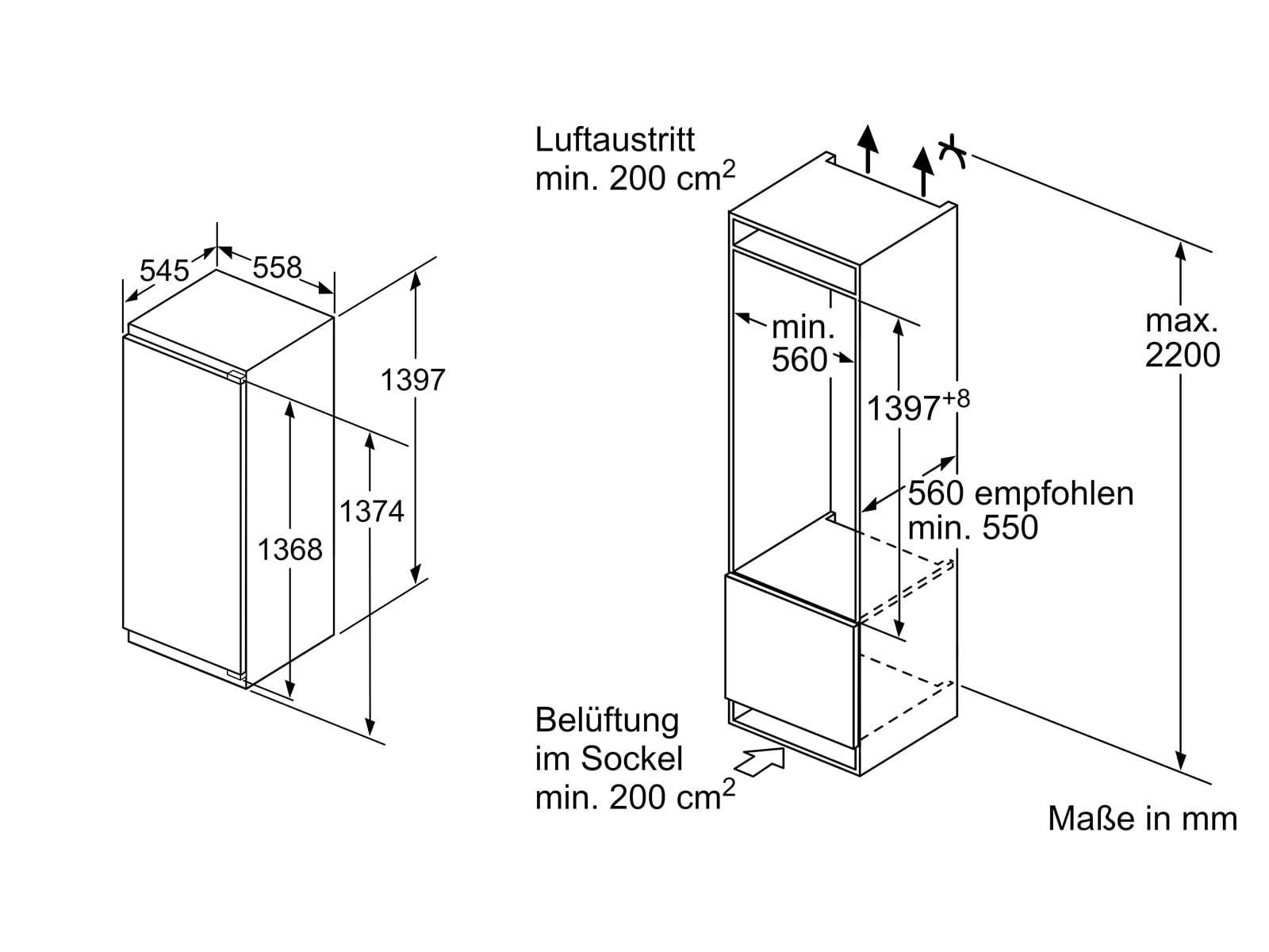 Bosch KIF52AFF0 Einbaukühlschrank mit Gefrierfach