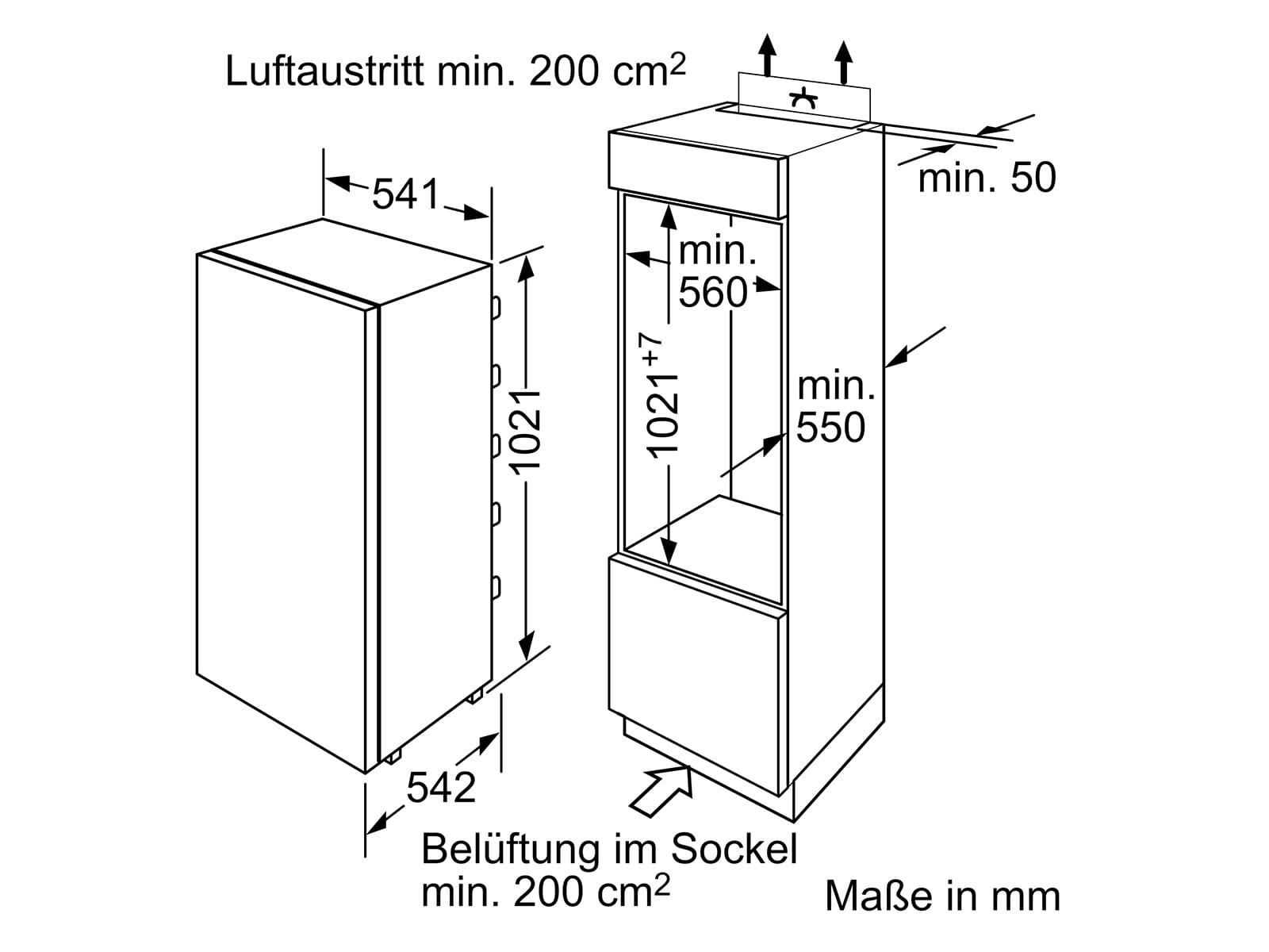 Bosch KIL20NFF0 Einbaukühlschrank mit Gefrierfach