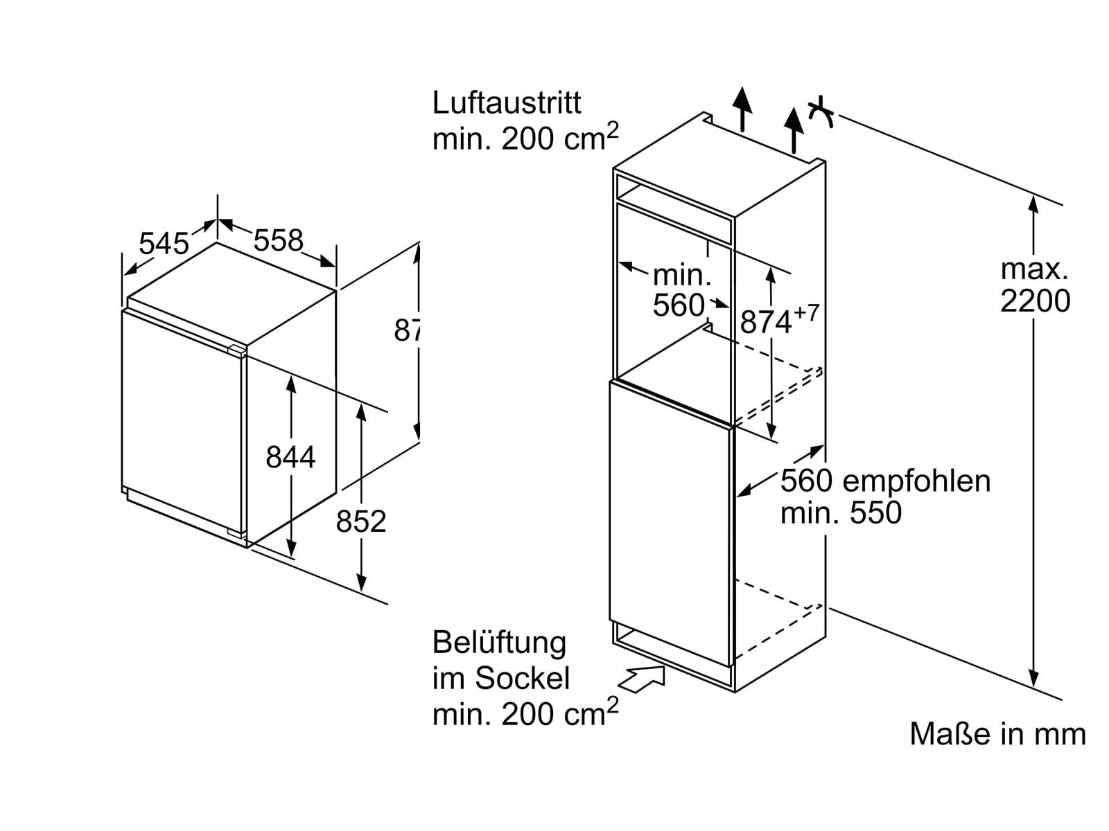 Bosch KIL22ADD0 Einbaukühlschrank mit Gefrierfach