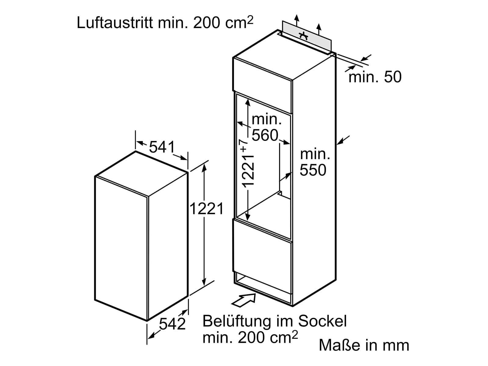 Bosch KIL24NFF0 Einbaukühlschrank mit Gefrierfach