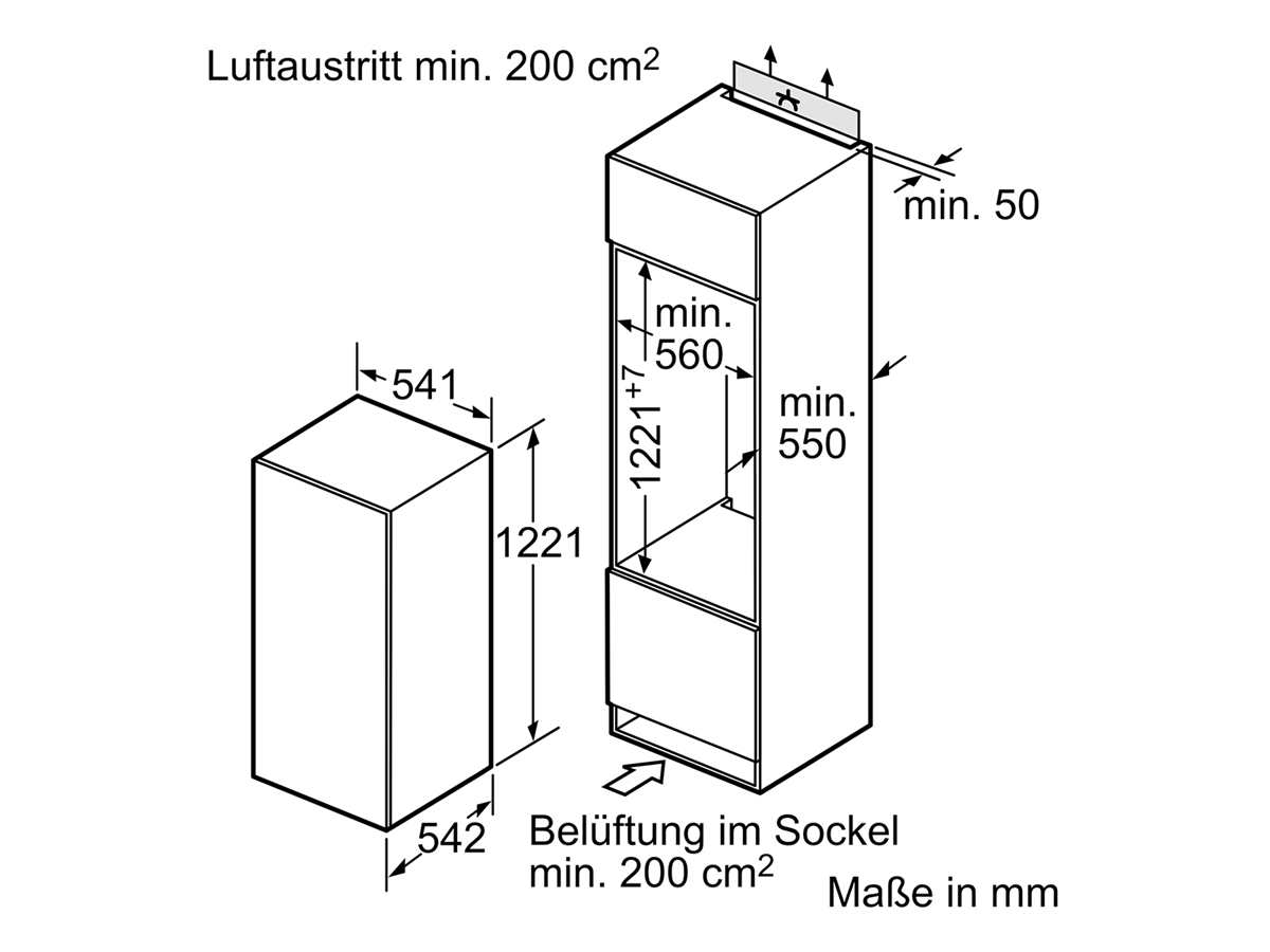 Bosch KIL24NSF0 Einbaukühlschrank mit Gefrierfach