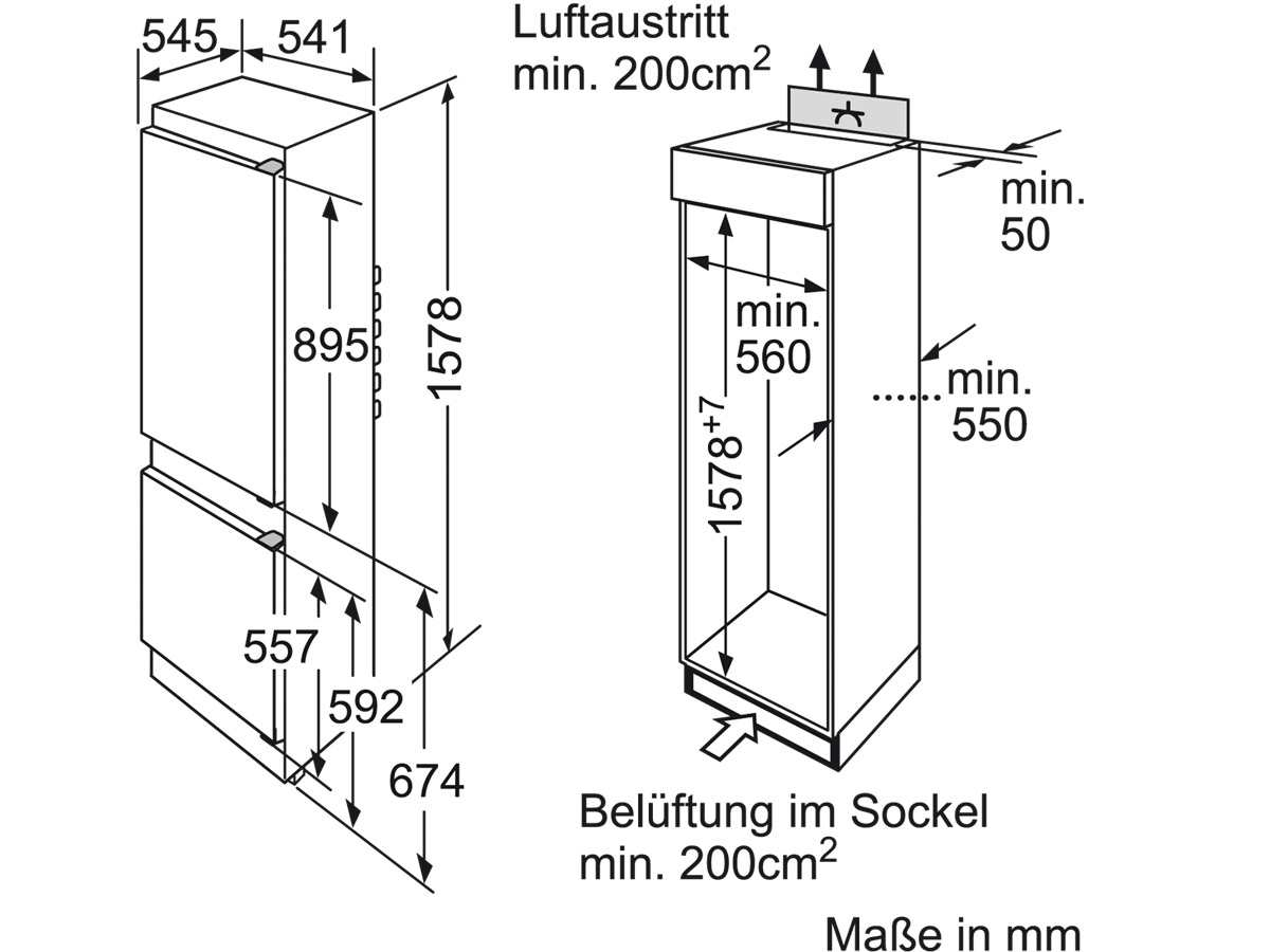 Bosch KIV28V20FF Einbau-Kühl-Gefrierkombination