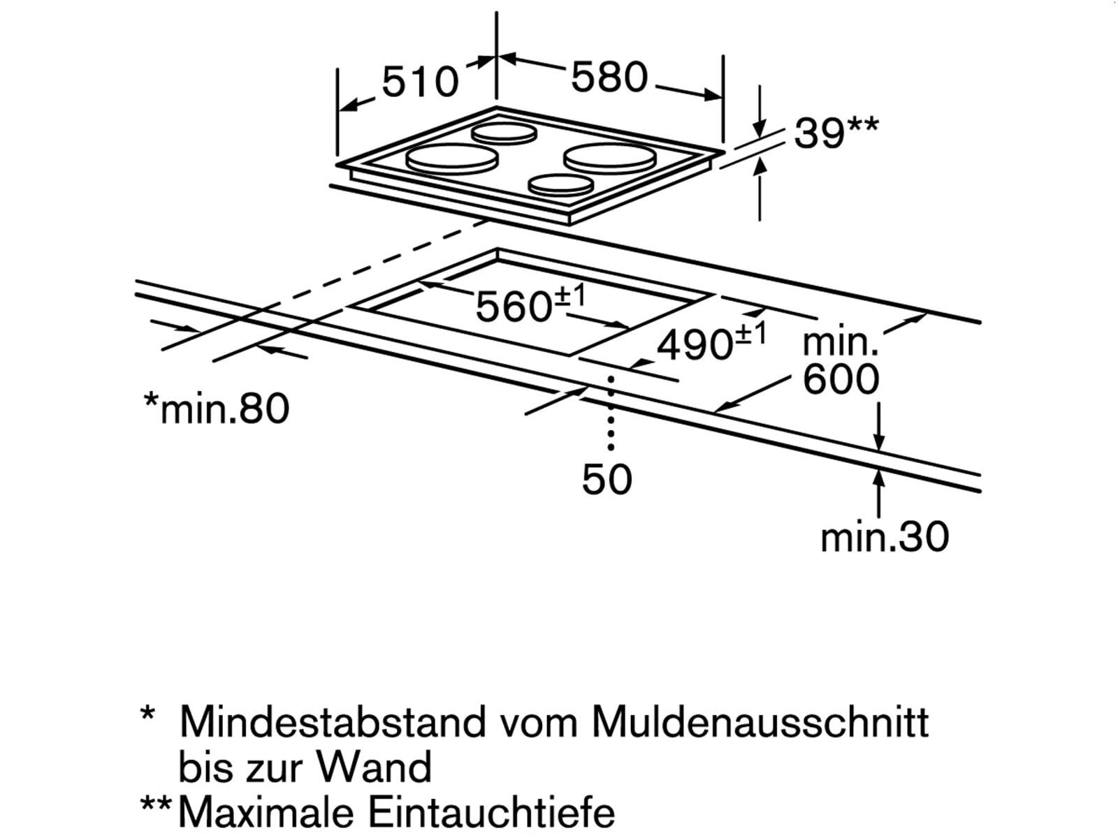 Bosch NCM615L01 Massekochfeld Edelstahl herdgebunden
