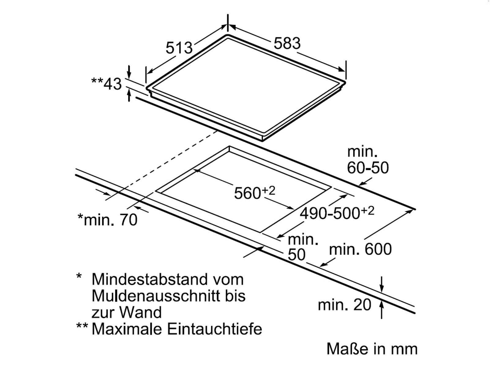 Bosch NKN645B17 Glaskeramikkochfeld herdgebunden