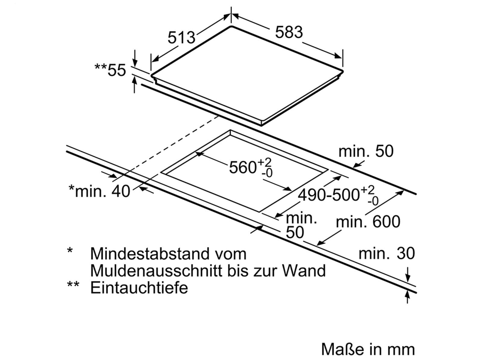 Bosch NXX645CB1E Induktionskochfeld herdgebunden