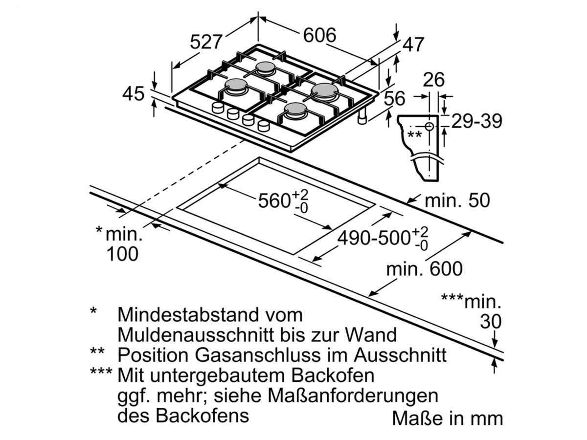 Bosch PRP6A6D70D Glaskeramik Gaskochfeld autark