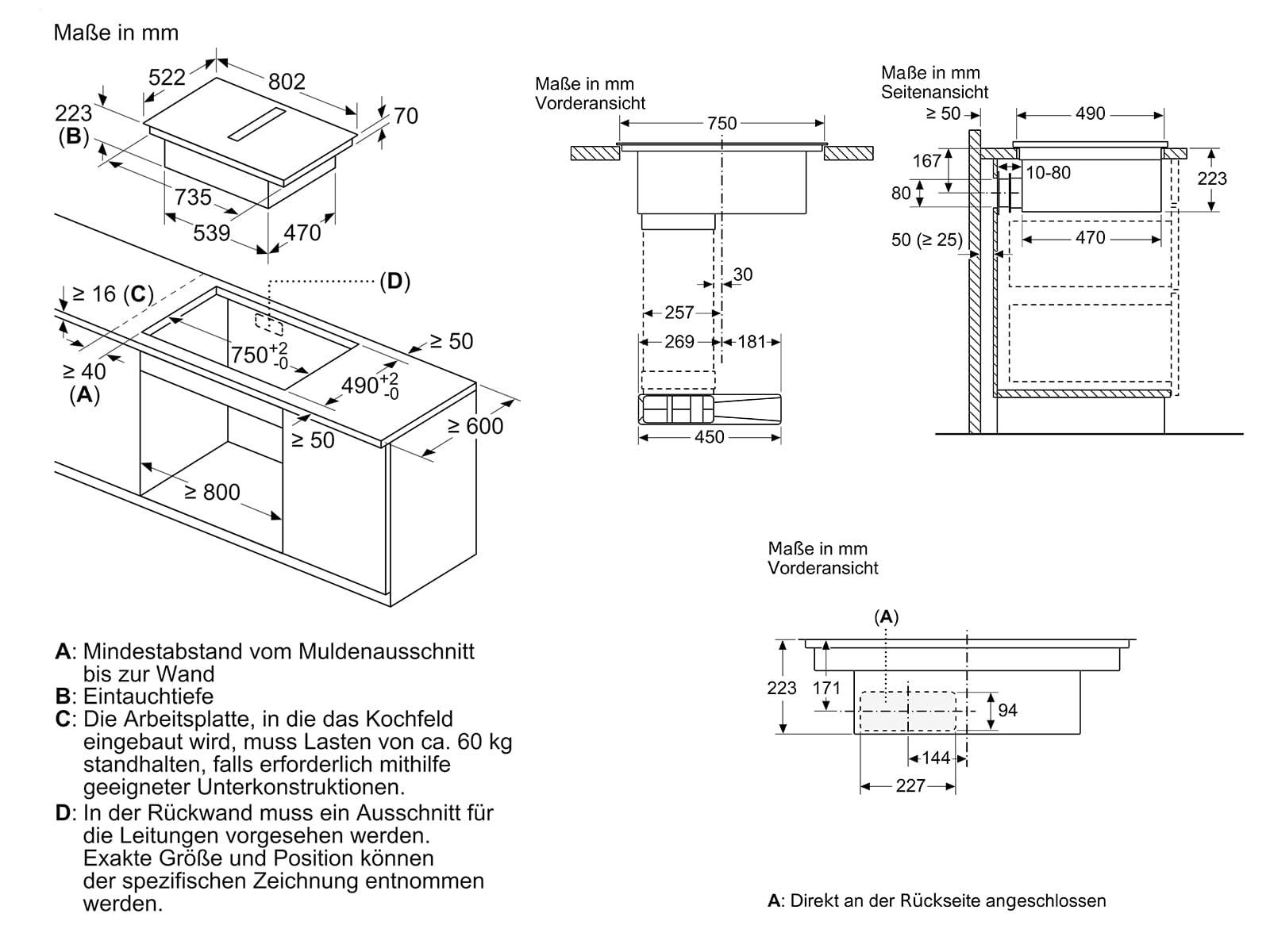 Bosch PVQ811A70 Induktionskochfeld-Dunstabzug-Kombination PVQ811F15E +  Installationszubehör