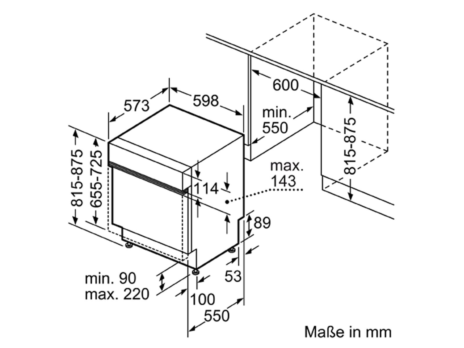 Bosch SMI8YCS01E Teilintegrierbarer Einbaugeschirrspüler