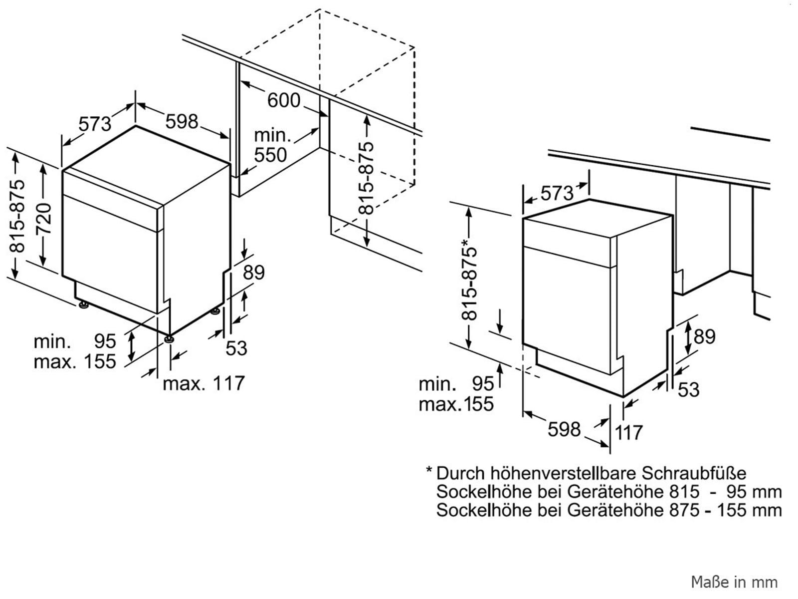 Bosch SMU68TS06E Unterbaugeschirrspüler Edelstahl