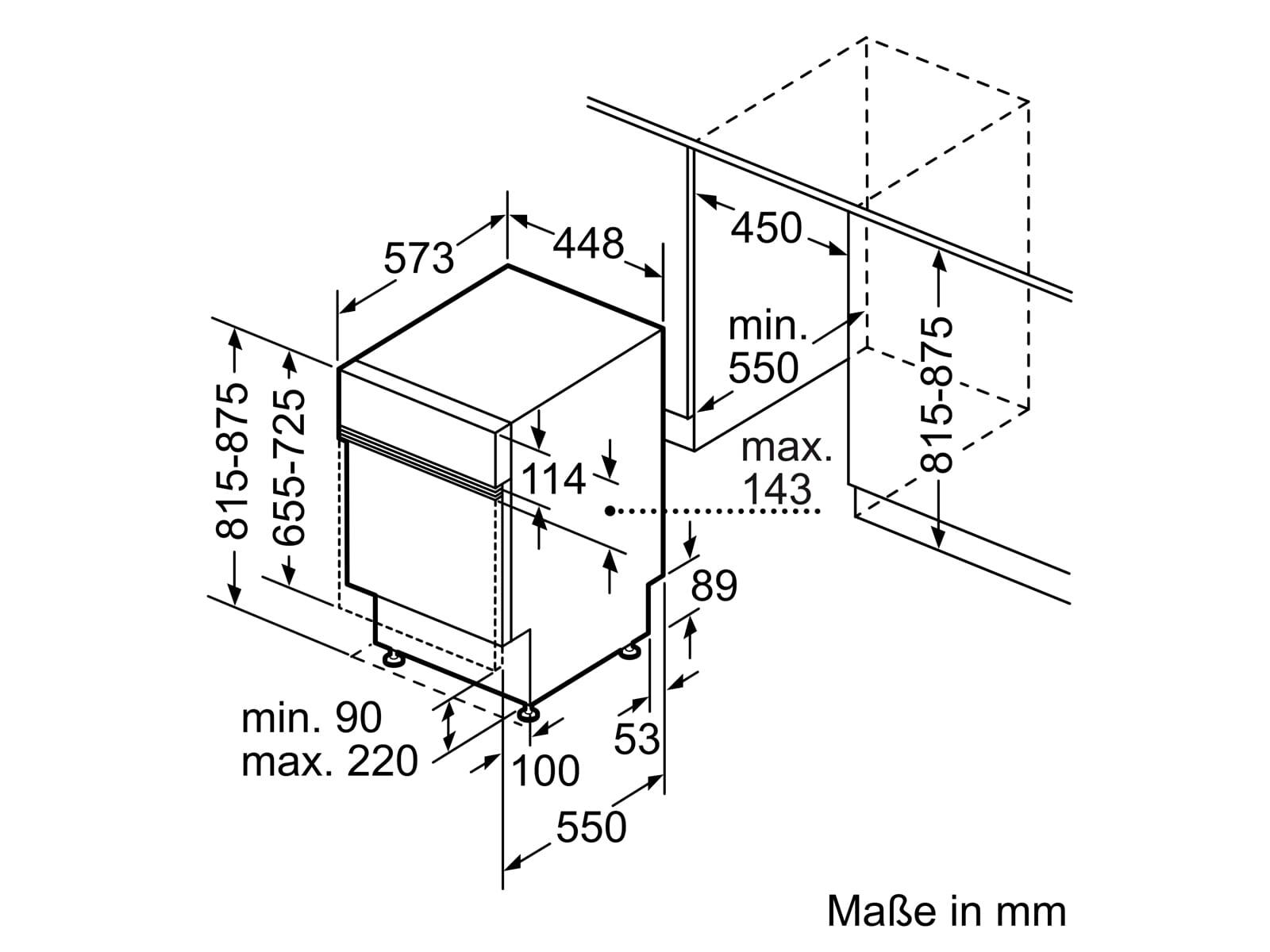Bosch SPI2XMS01E Teilintegrierbarer Einbaugeschirrspüler