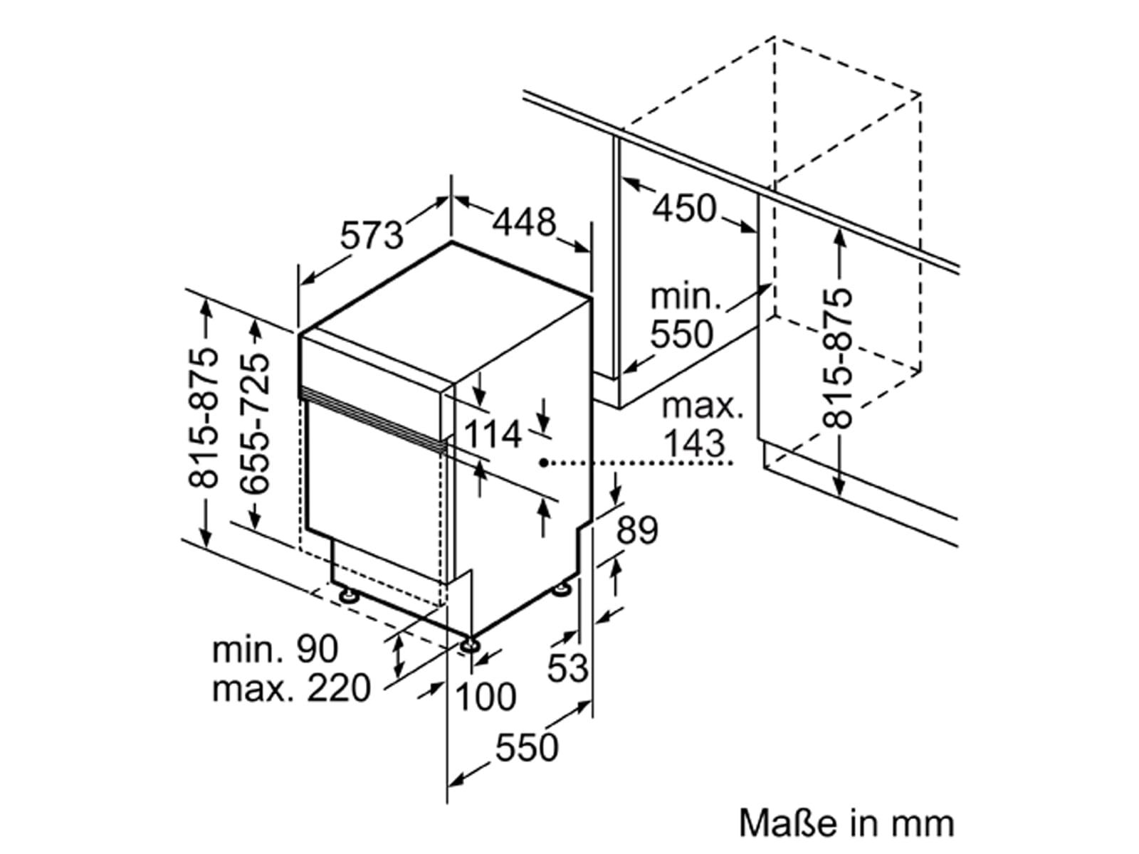 Bosch SPI4HMS61E Teilintegrierbarer Einbaugeschirrspüler