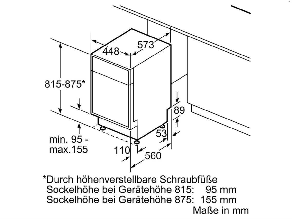 Bosch SPU66TS01E Unterbaugeschirrspüler Edelstahl