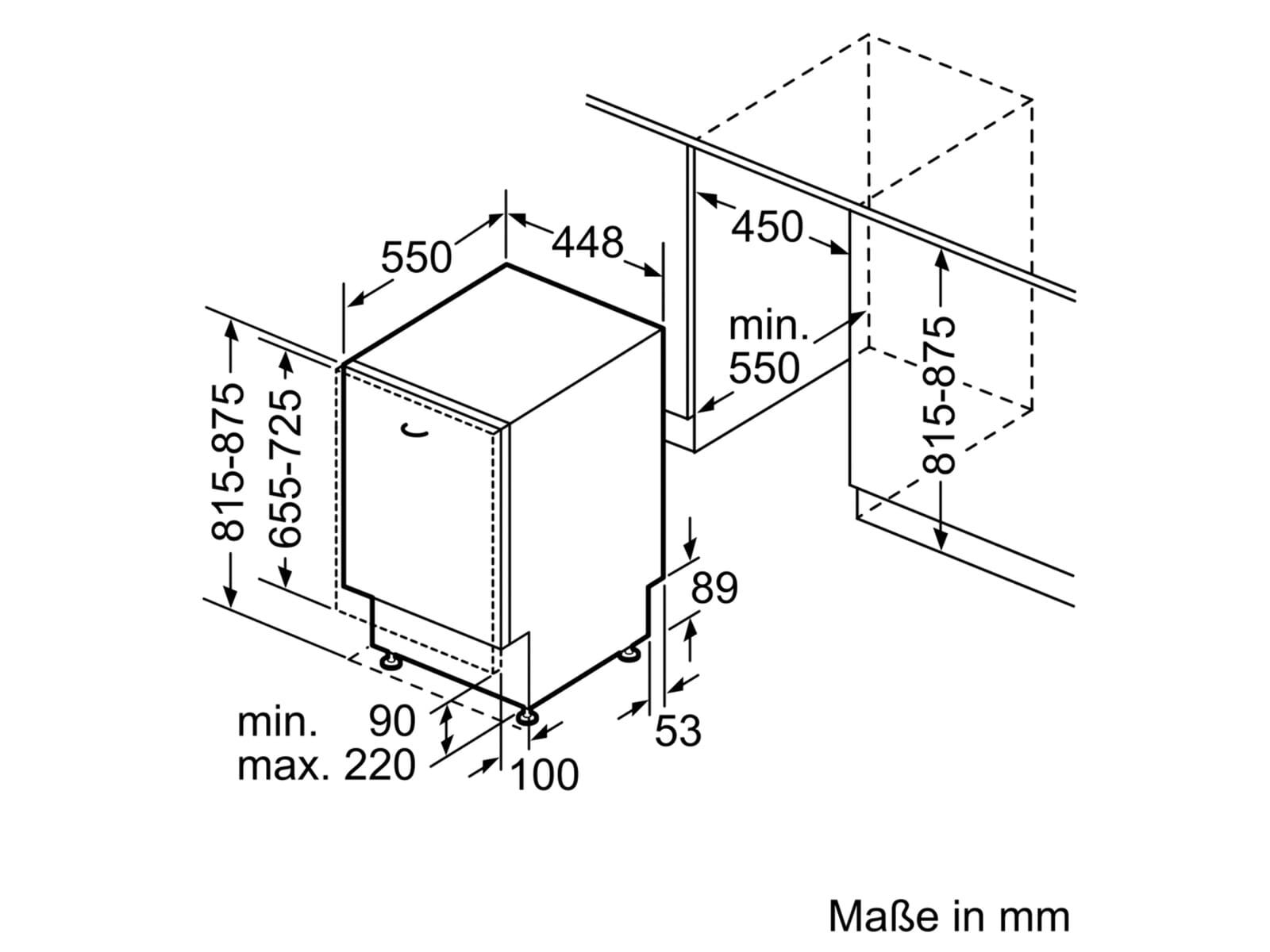 Bosch SPV2IKX10E Vollintegrierbarer Einbaugeschirrspüler
