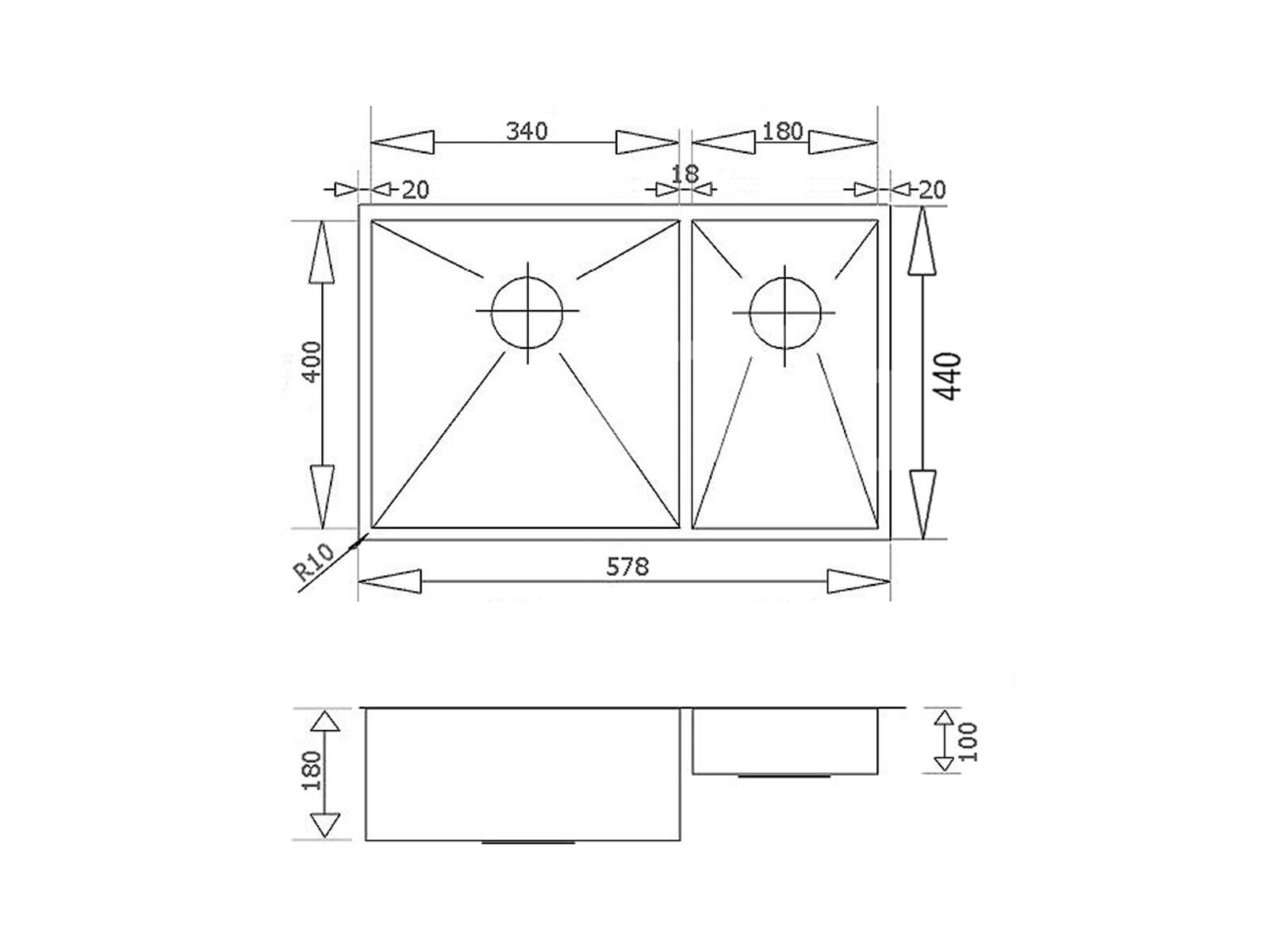 DK  Zentra 1.5N/60 Edelstahlspüle poliert