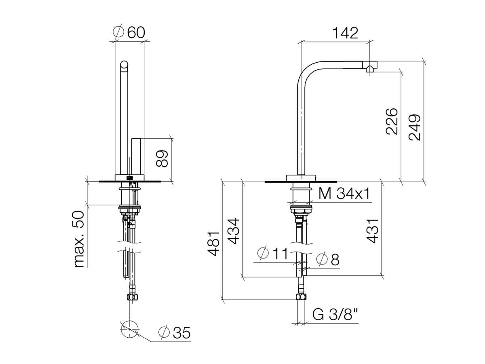 Dornbracht Elio Hot & Cold Water Dispenser Chrom 17 861 790-00 Hochdruckarmatur