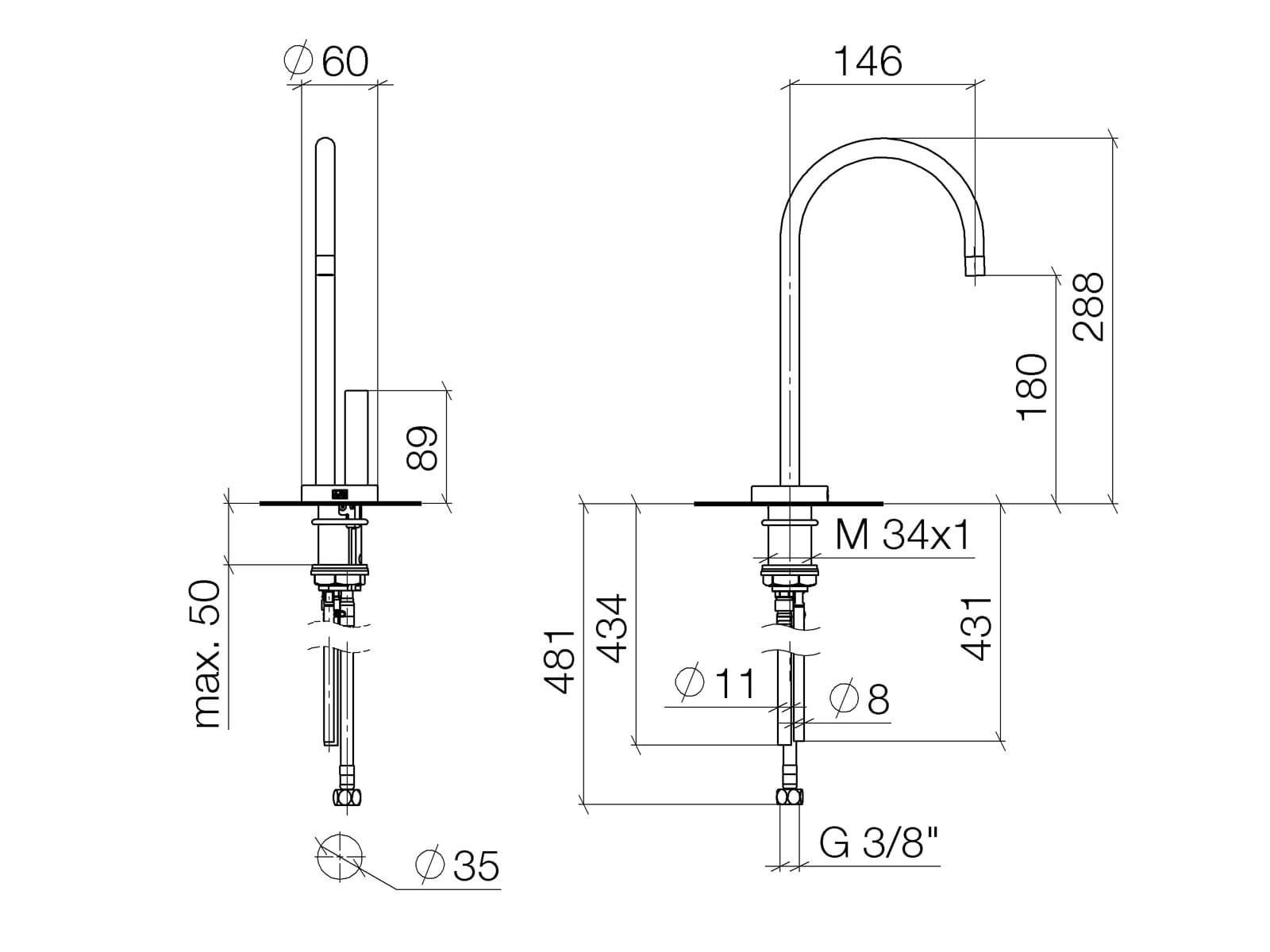Dornbracht Tara Ultra  Hot & Cold Water Dispenser Chrom 17 861 875-00 Hochdruckarmatur