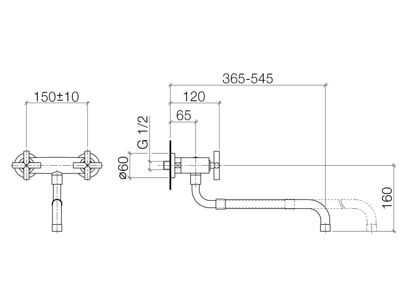 Dornbracht Tara Wand-Brückenbatterie Chrom 31 151 892-00 Hochdruckarmatur