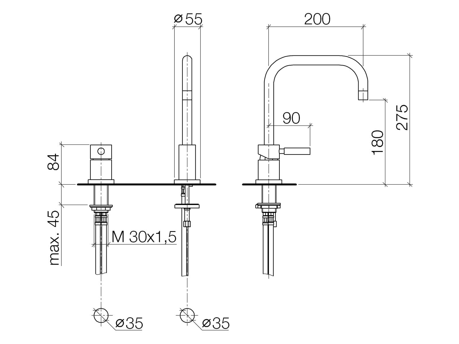 Dornbracht Meta.02 Zweilochbatterie Chrom 32 800 625-00 Hochdruckarmatur