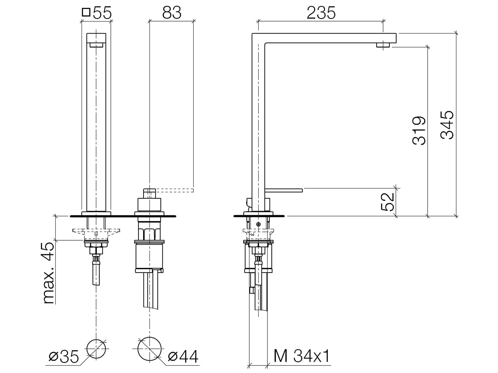 Dornbracht Lot Zweilochbatterie Dark Platinum Matt 32 800 680-99 Hochdruckarmatur