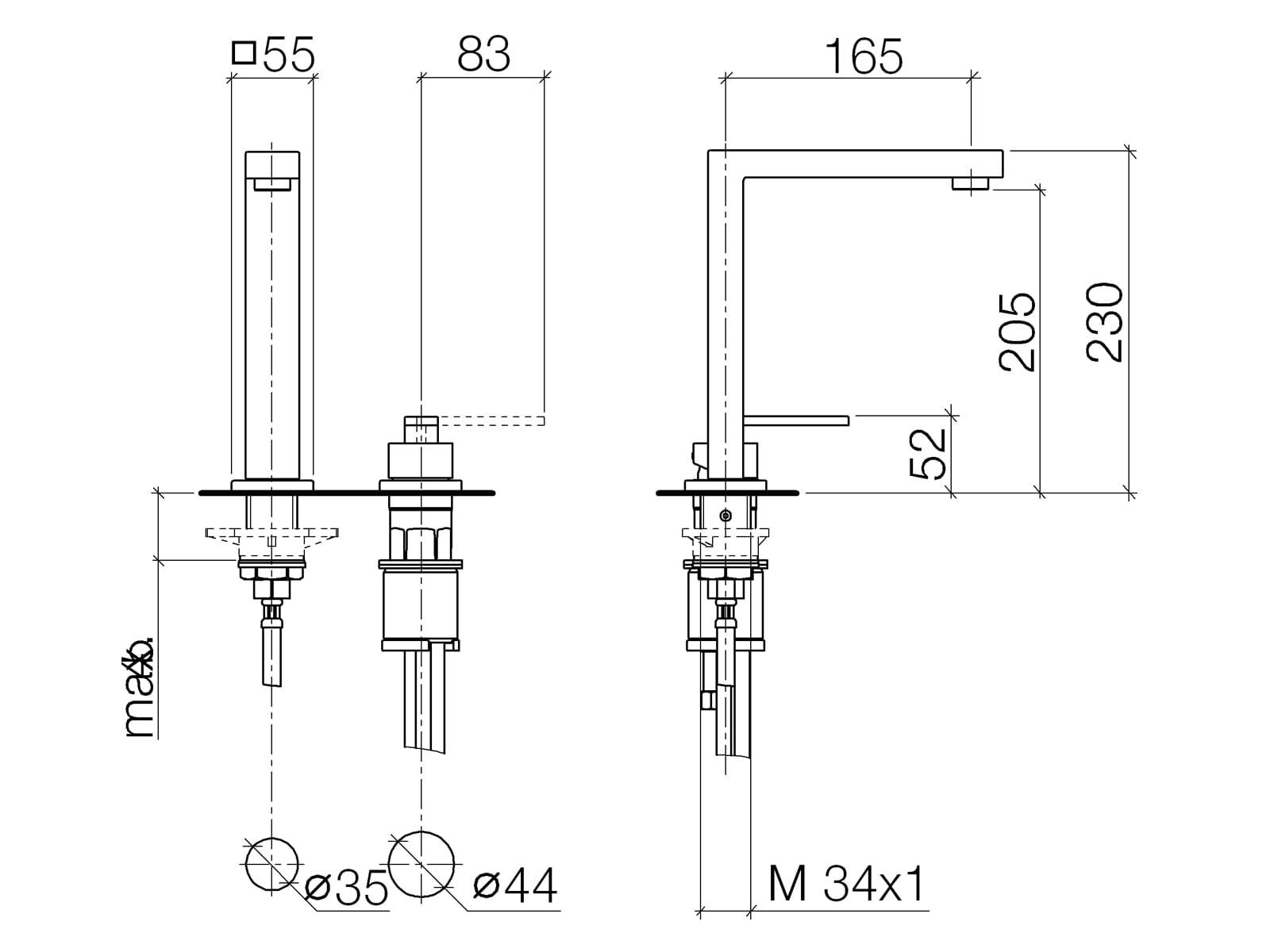 Dornbracht Lot Bar Tap Zweilochbatterie Platin Matt 32 805 680-06 Hochdruckarmatur