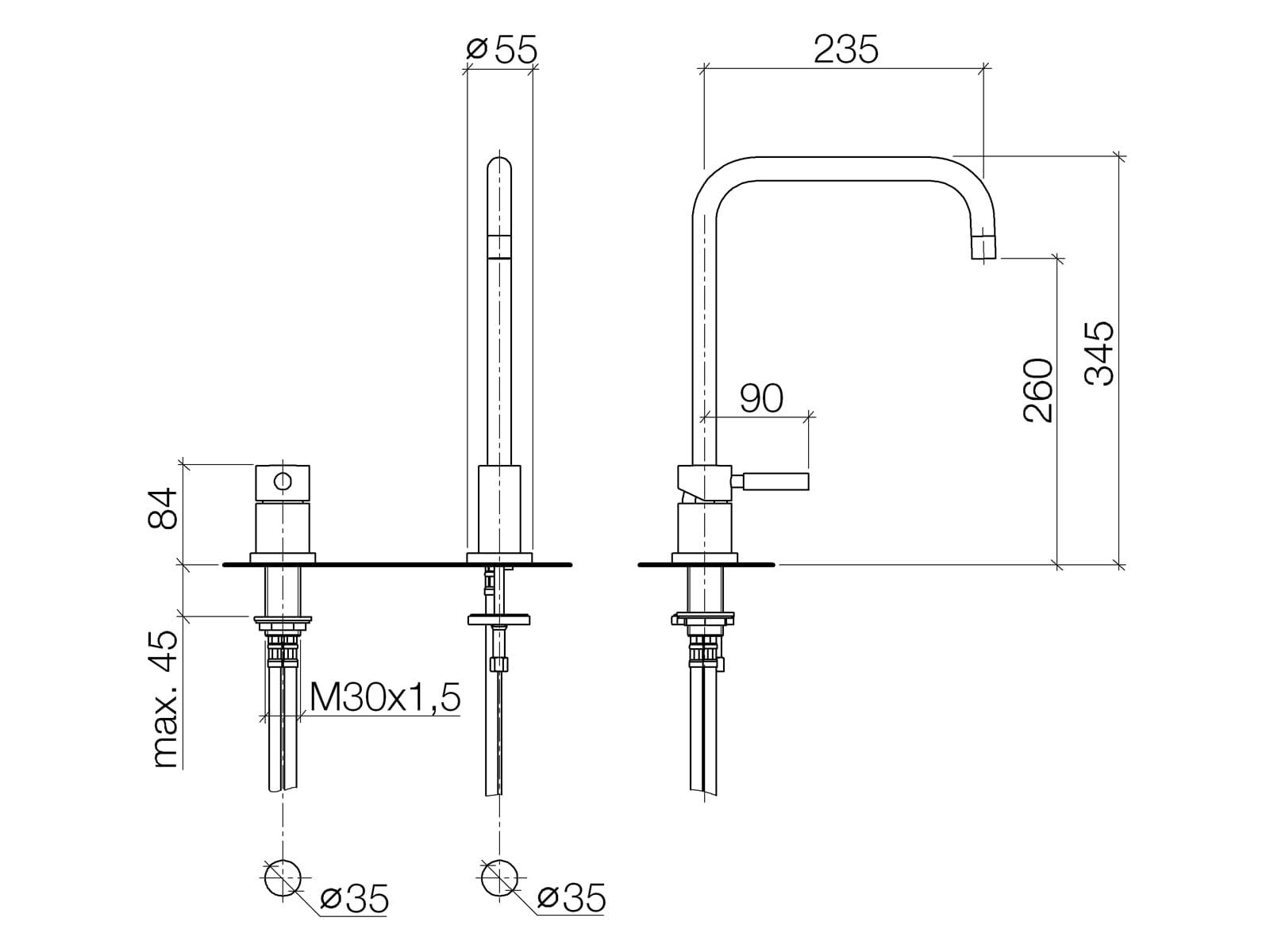 Dornbracht Meta.02 Zweilochbatterie Platin Matt 32 815 625-06 Hochdruckarmatur