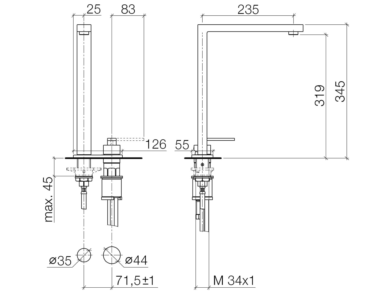 Dornbracht Lot Zweilochbatterie Platin Matt 32 843 680-06 Hochdruckarmatur