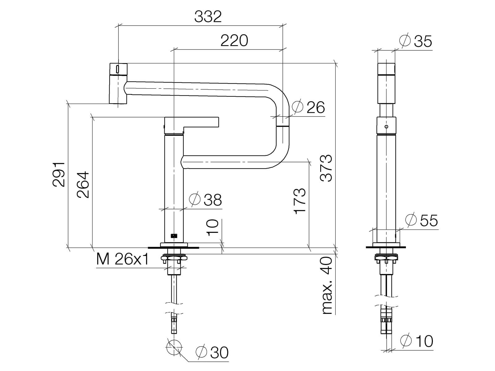 Dornbracht Tara Ultra Pivot Chrom 33 845 875-00 Hochdruckarmatur